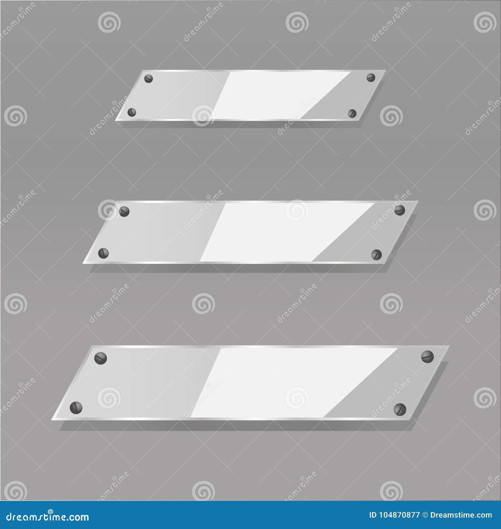Las placas de cristal transparentes modernas del vector fijaron en fondo de la muestra
