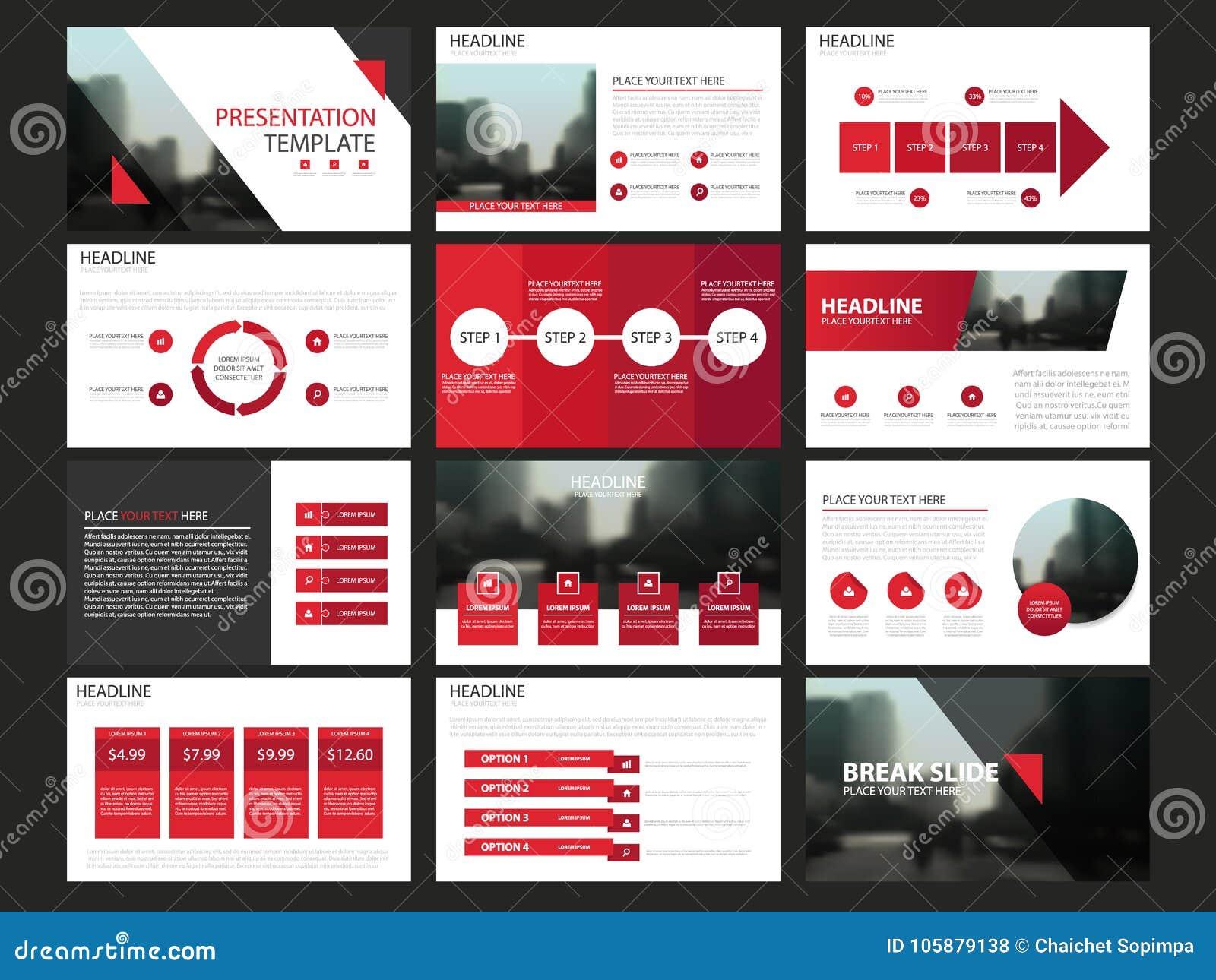 Las plantillas abstractas rojas de la presentación, diseño plano de la plantilla de los elementos de Infographic fijaron para el