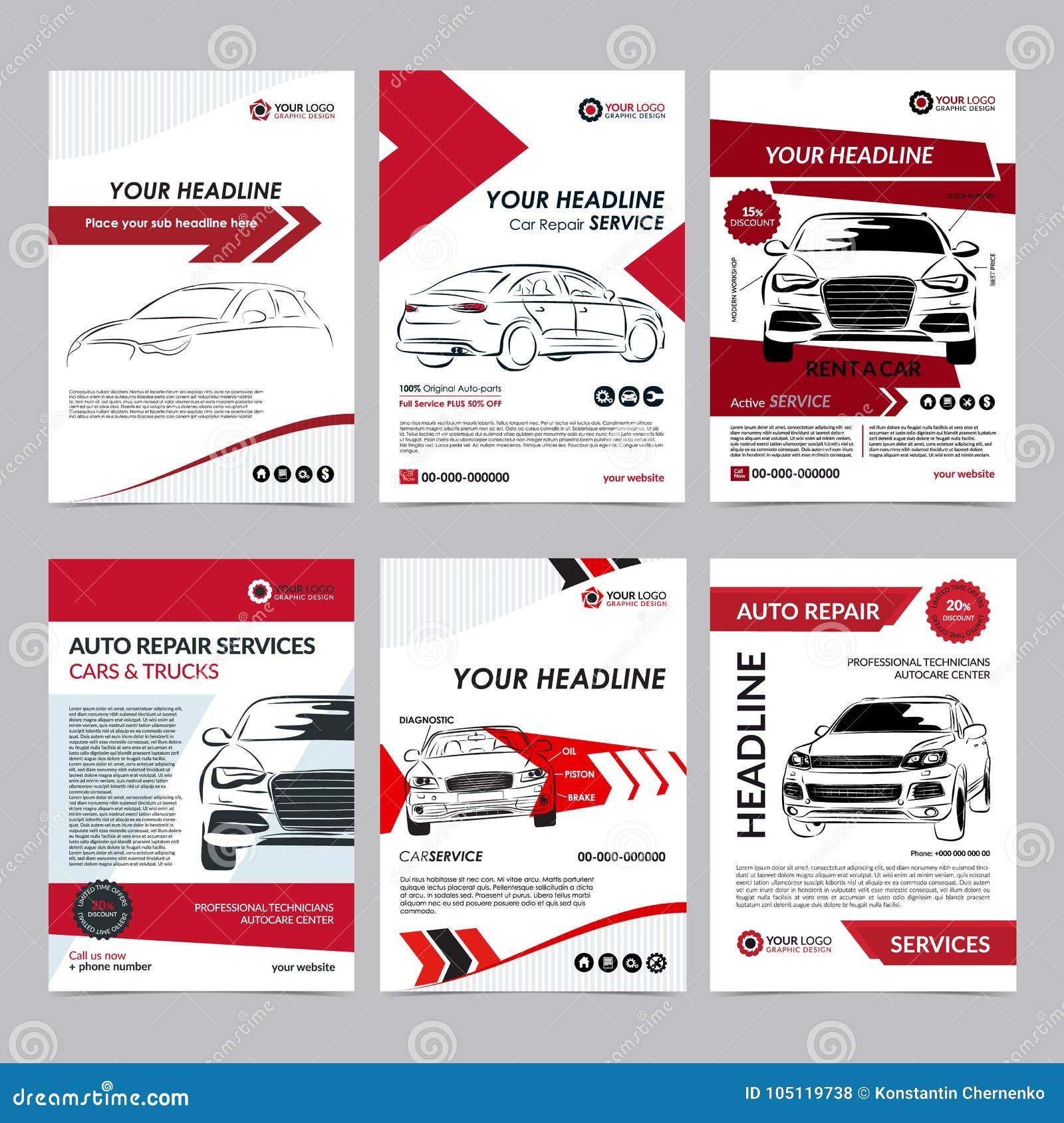 Las plantillas de la disposición del negocio de servicios de reparación auto fijaron, portada de revista del automóvil, folleto a