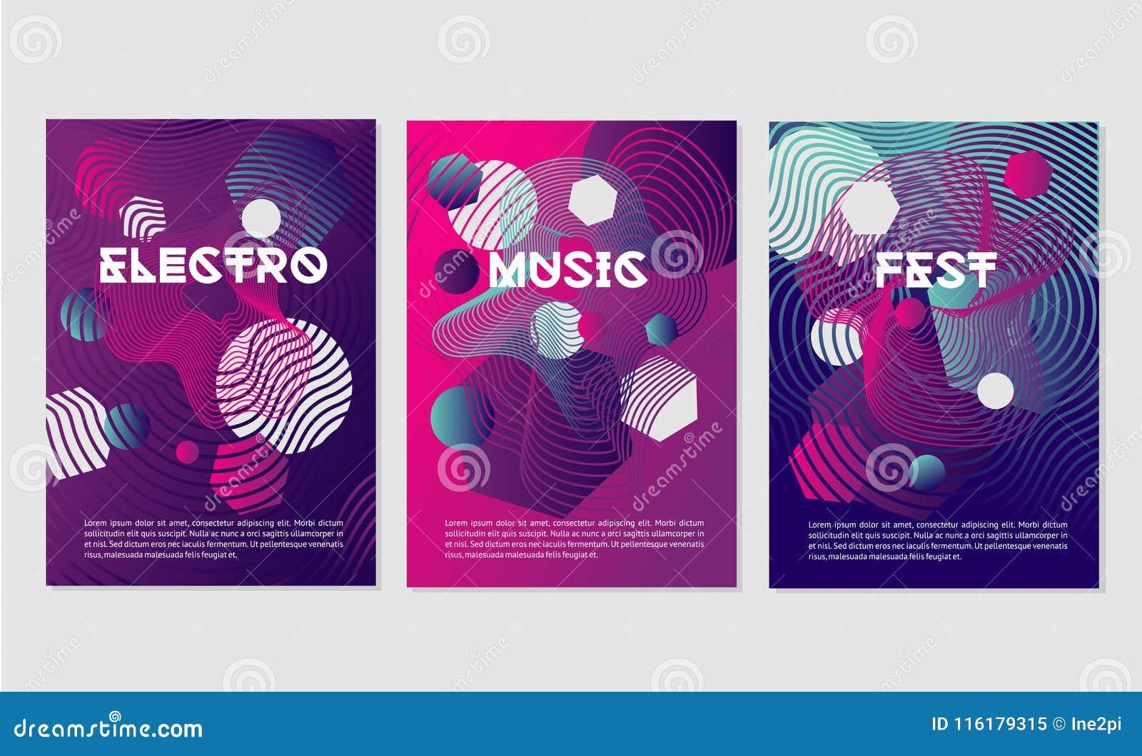 Las plantillas de la invitación para el club de noche van de fiesta con formas dinámicas Festival de música de danza con la línea