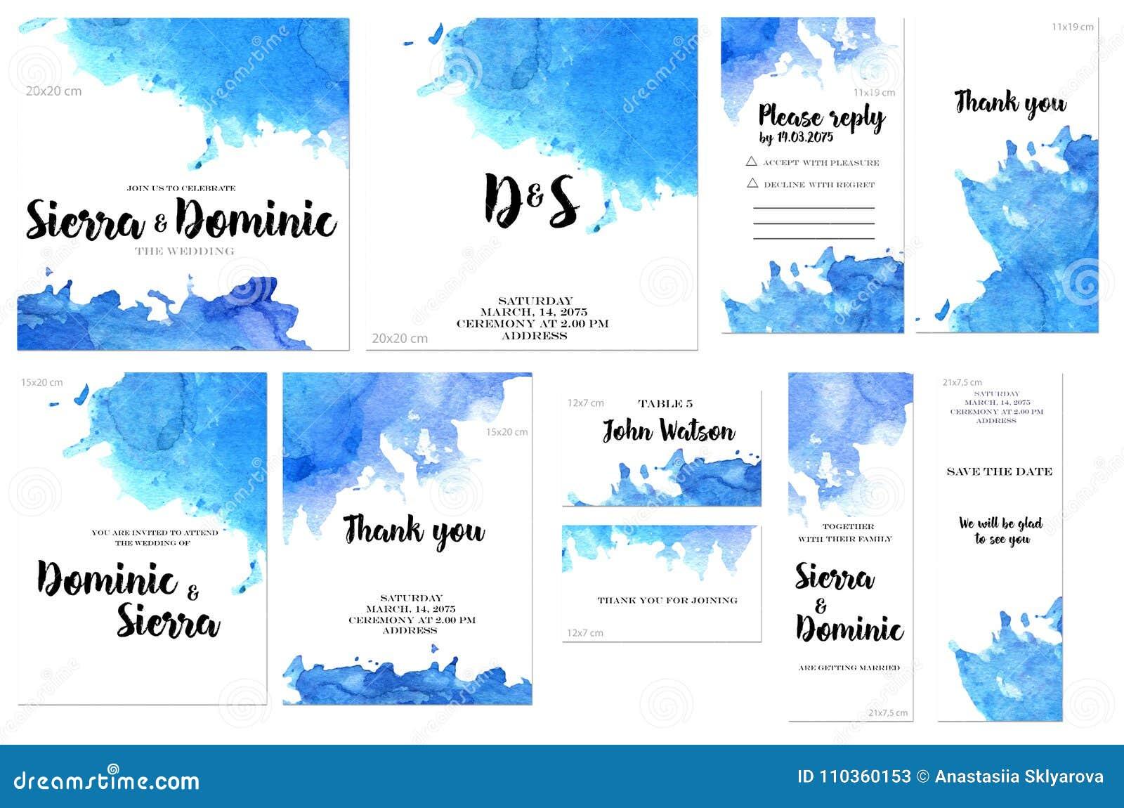 Las plantillas de la tarjeta fijadas con la acuarela azul salpican el fondo; diseño artístico para el negocio, boda, invitación d
