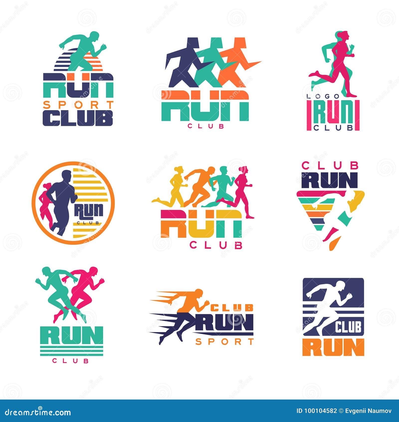 Las plantillas del logotipo del club de deporte del funcionamiento fijaron 3d0ea4104365d