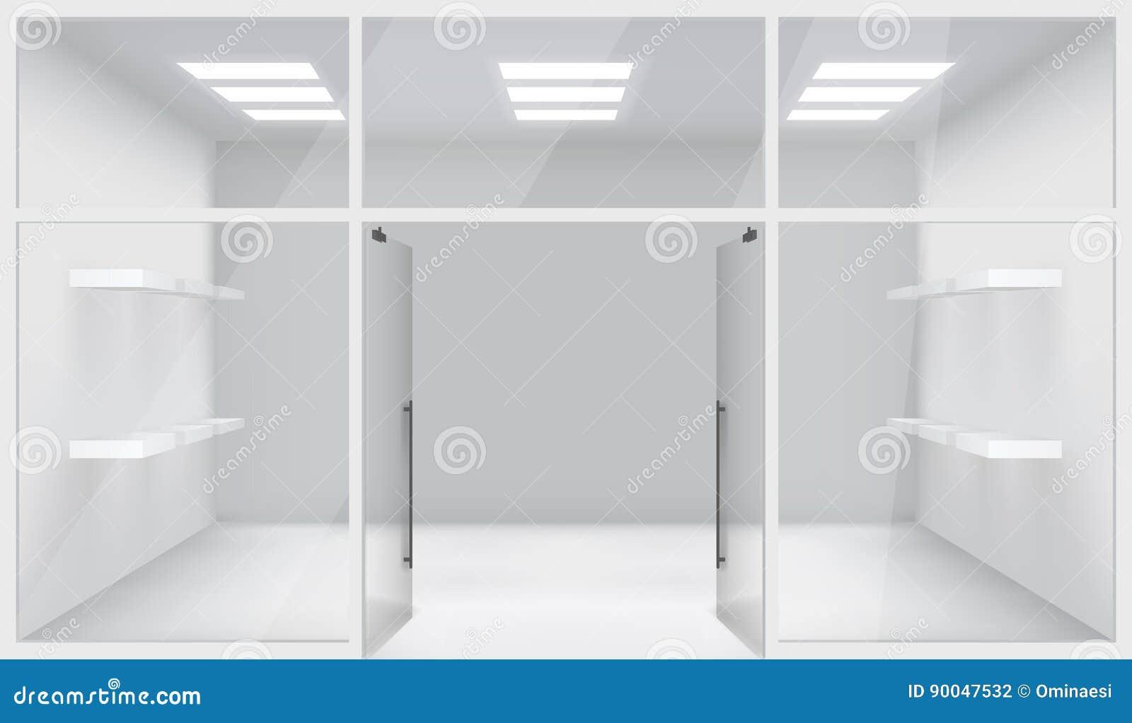 Las puertas abiertas del espacio realista de Front Store Shop 3d dejan de lado el ejemplo del vector del fondo de la maqueta de l