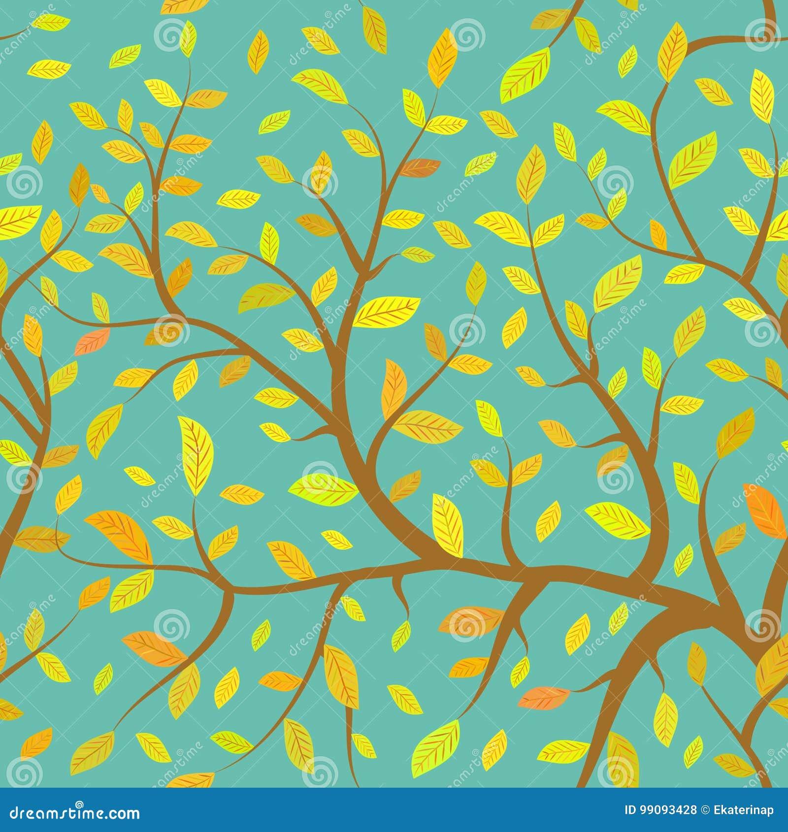 Las ramas inconsútiles de Brown del modelo con amarillo anaranjado del otoño se van, los colores en colores pastel en fondo del c