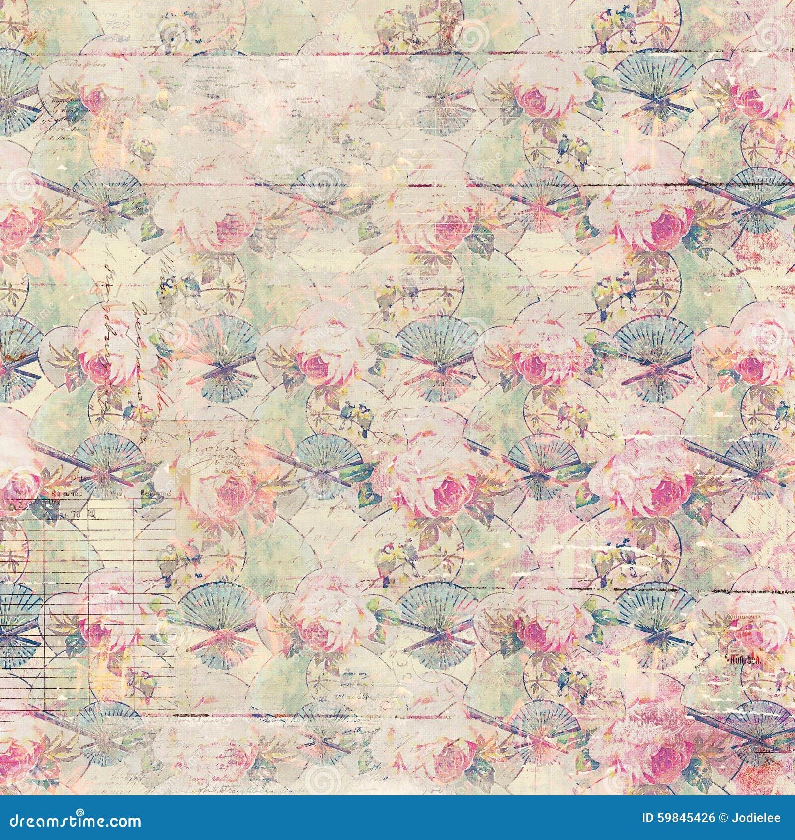Las rosas antiguas del vintage modelaron el fondo en colores rosados y verdes de la primavera