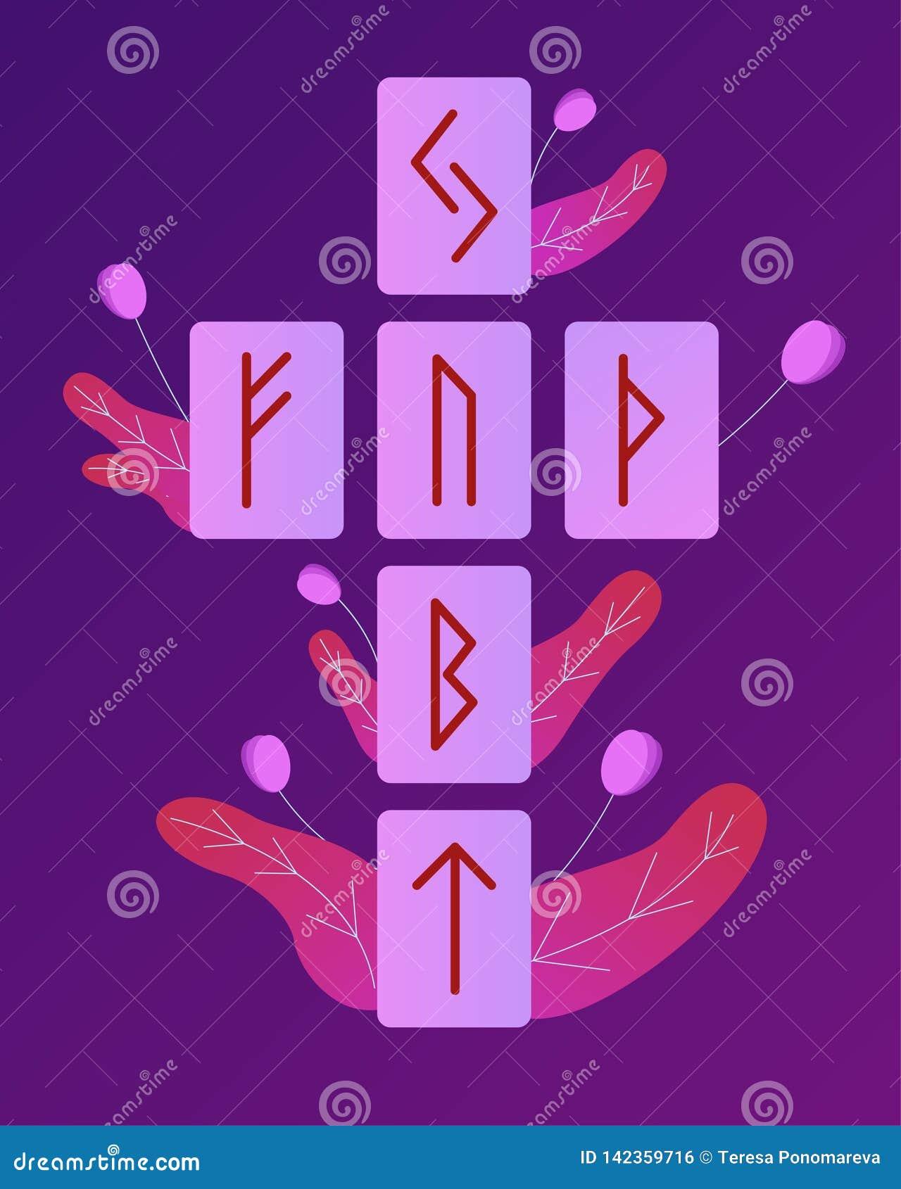 Las runas de Escandinavia Ejemplo del vector de la disposición rúnica Futark mayor Esotérico espiritual Cruz céltica Adivinación