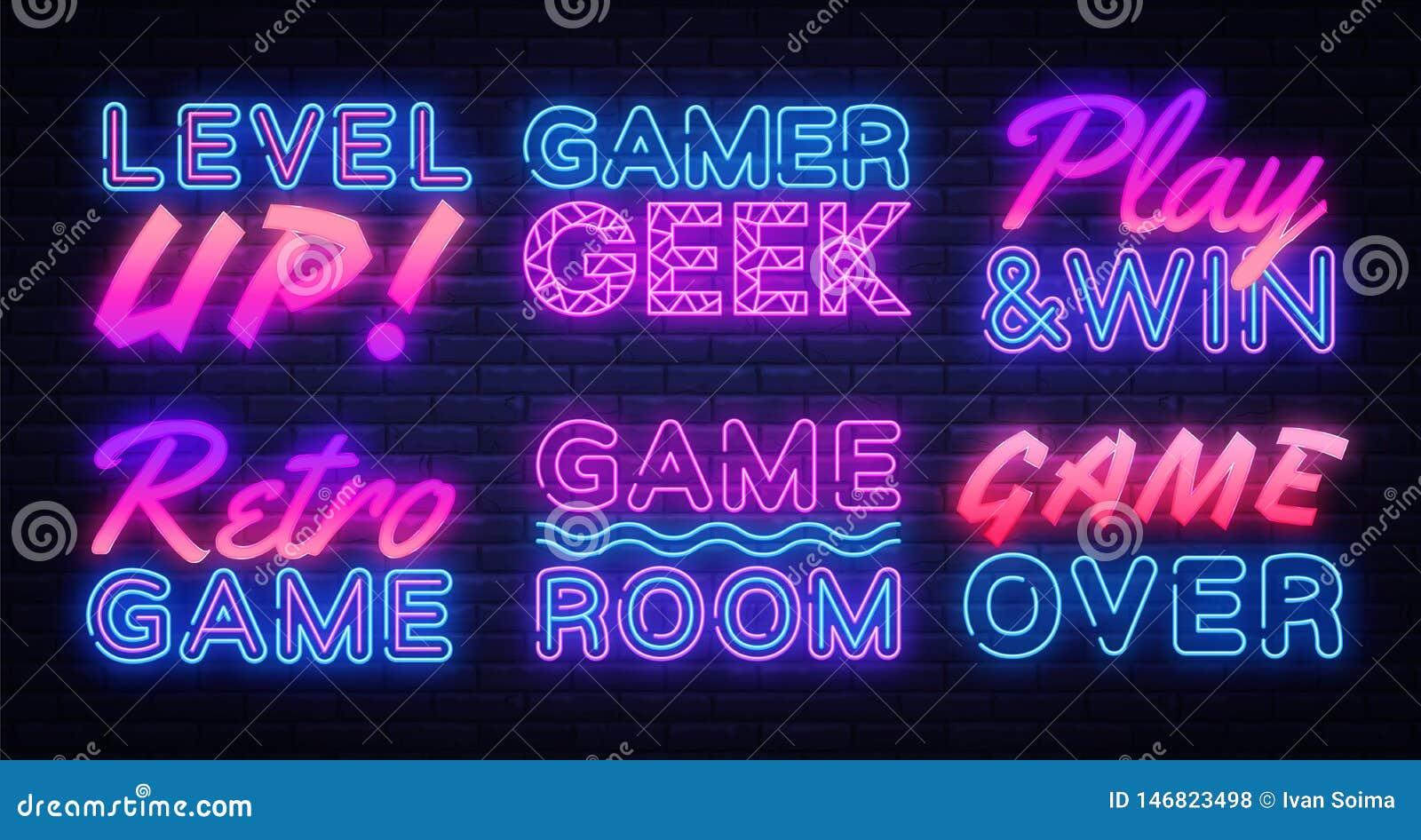 Las señales de neón del juego fijaron vector Señal de neón del videojugador, plantilla del diseño, diseño moderno de la tendencia