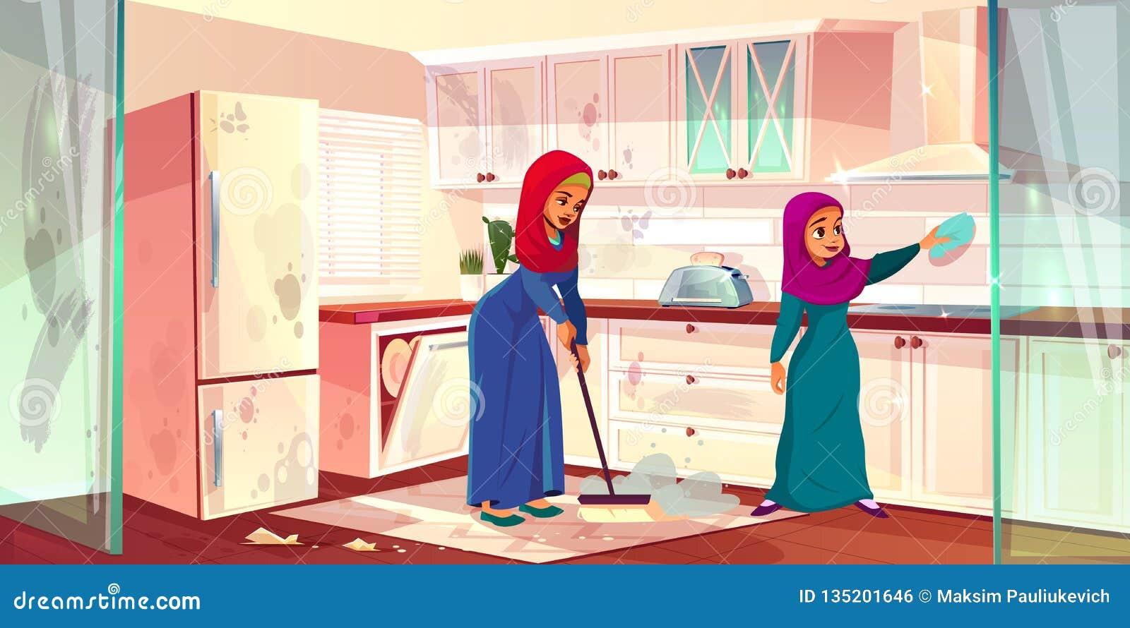 Las Senoras Arabes Del Vector Lavan La Cocina Limpieza De Los