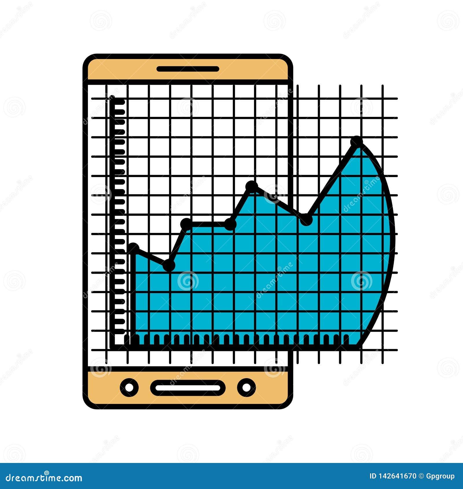 Las secciones del color siluetean del teléfono móvil y del gráfico del riesgo financiero