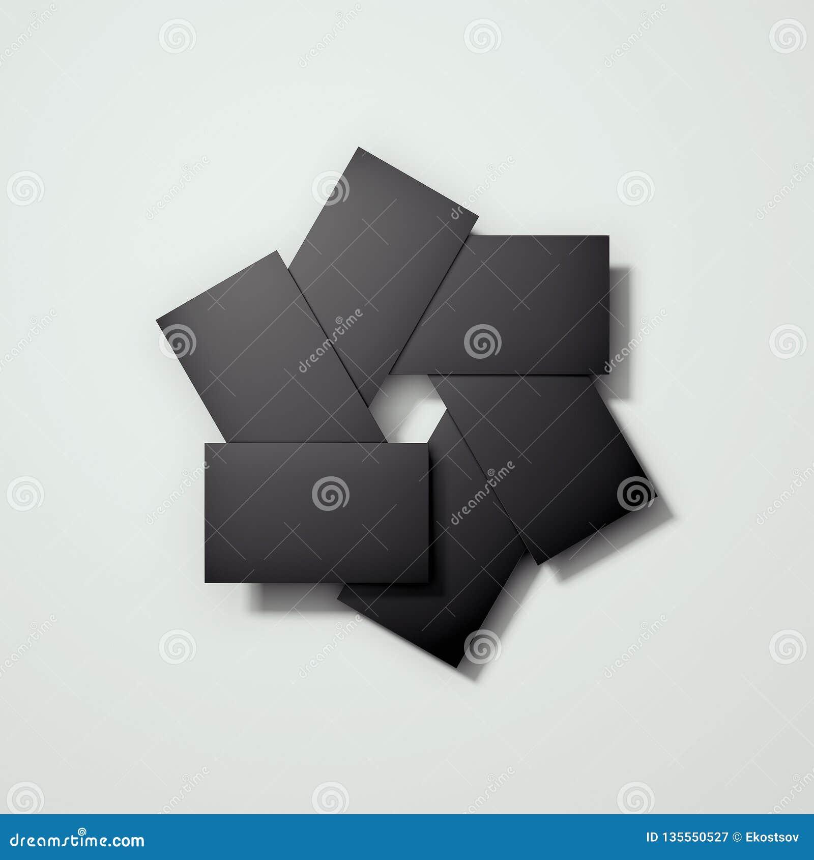 Las tarjetas negras en blanco arreglaron in camera la forma del diafragma, representación 3d