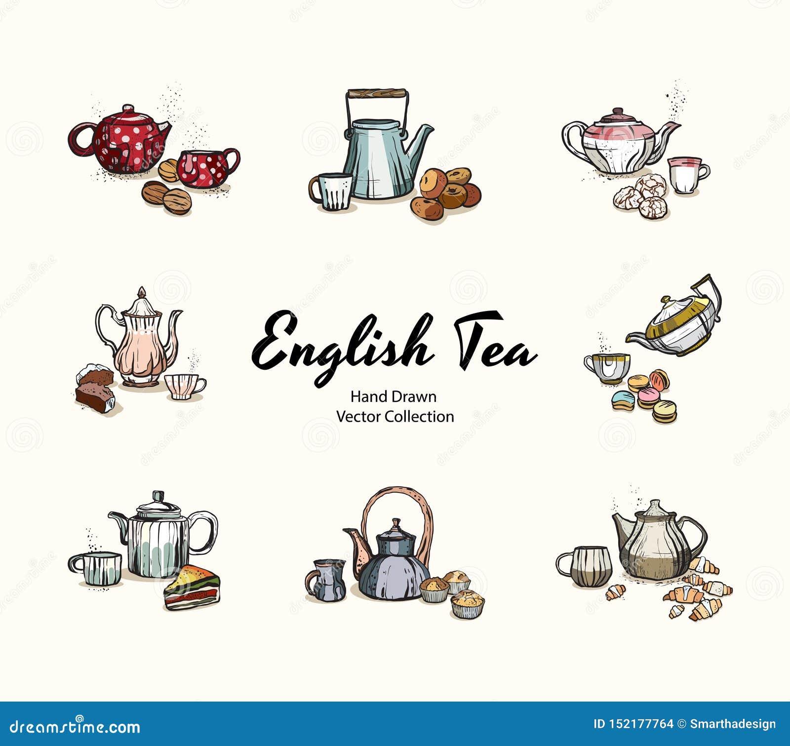 Las teteras, tazas, galletas dan el ejemplo exhausto del vector en viejo estilo Ejemplos del vector fijados para el menú del café
