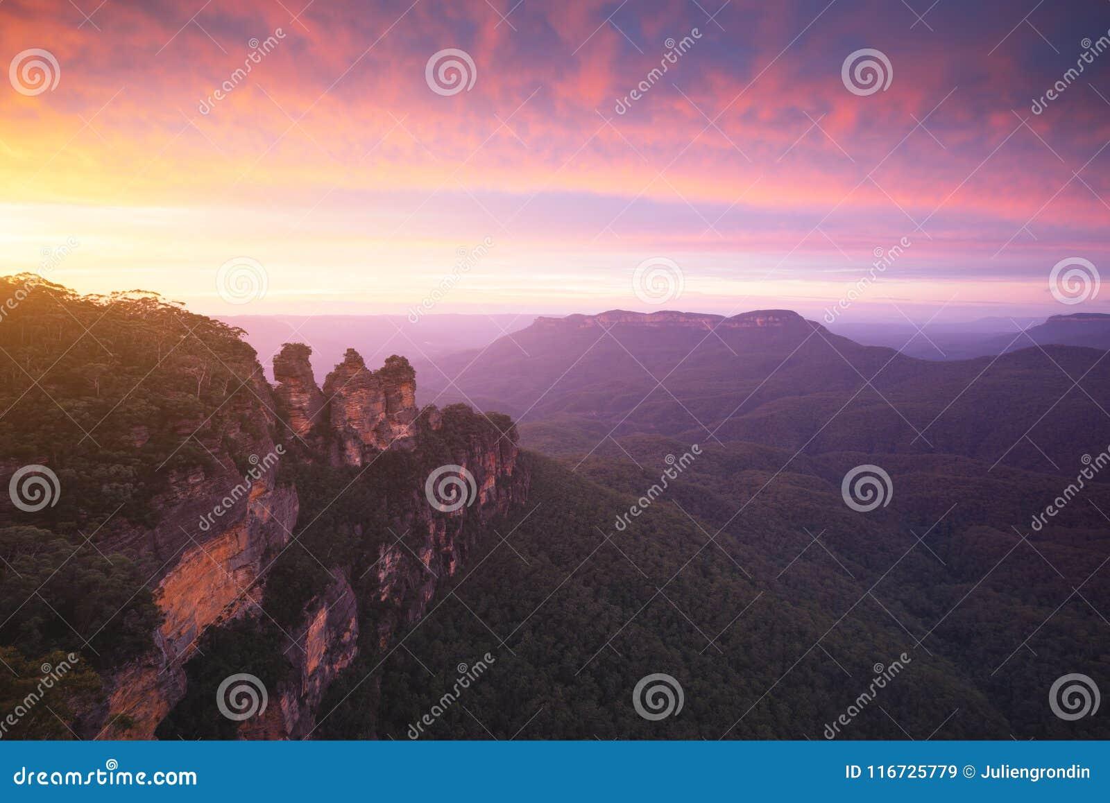 Las tres hermanas, parque nacional de las montañas azules, NSW, Australia