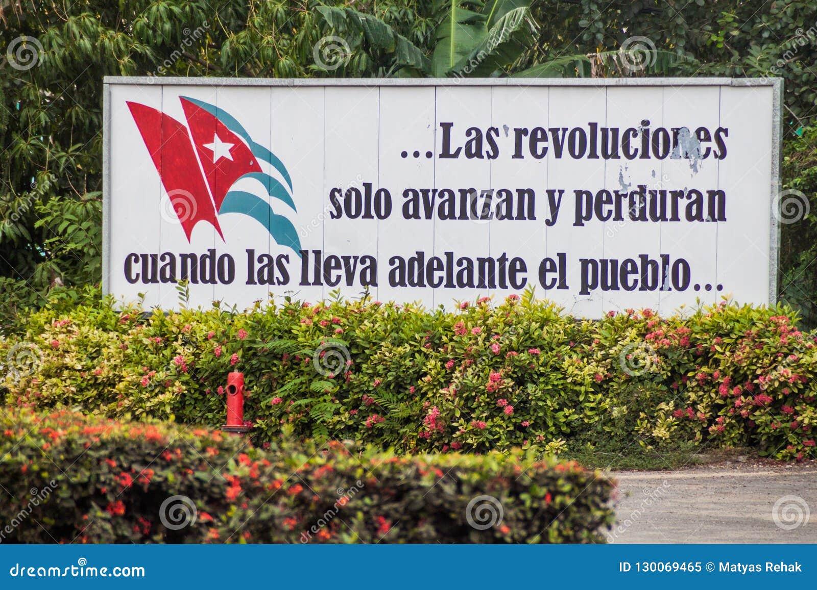 LAS TUNAS, CUBA - JAN 27, 2016: Propaganda billboard at Plaza de la Revolucion Square of the Revolution in Las Tunas
