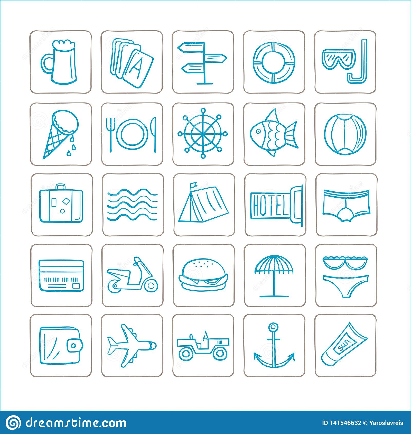Las vacaciones - fije de iconos Gráficos de vector color de la Azul-plata