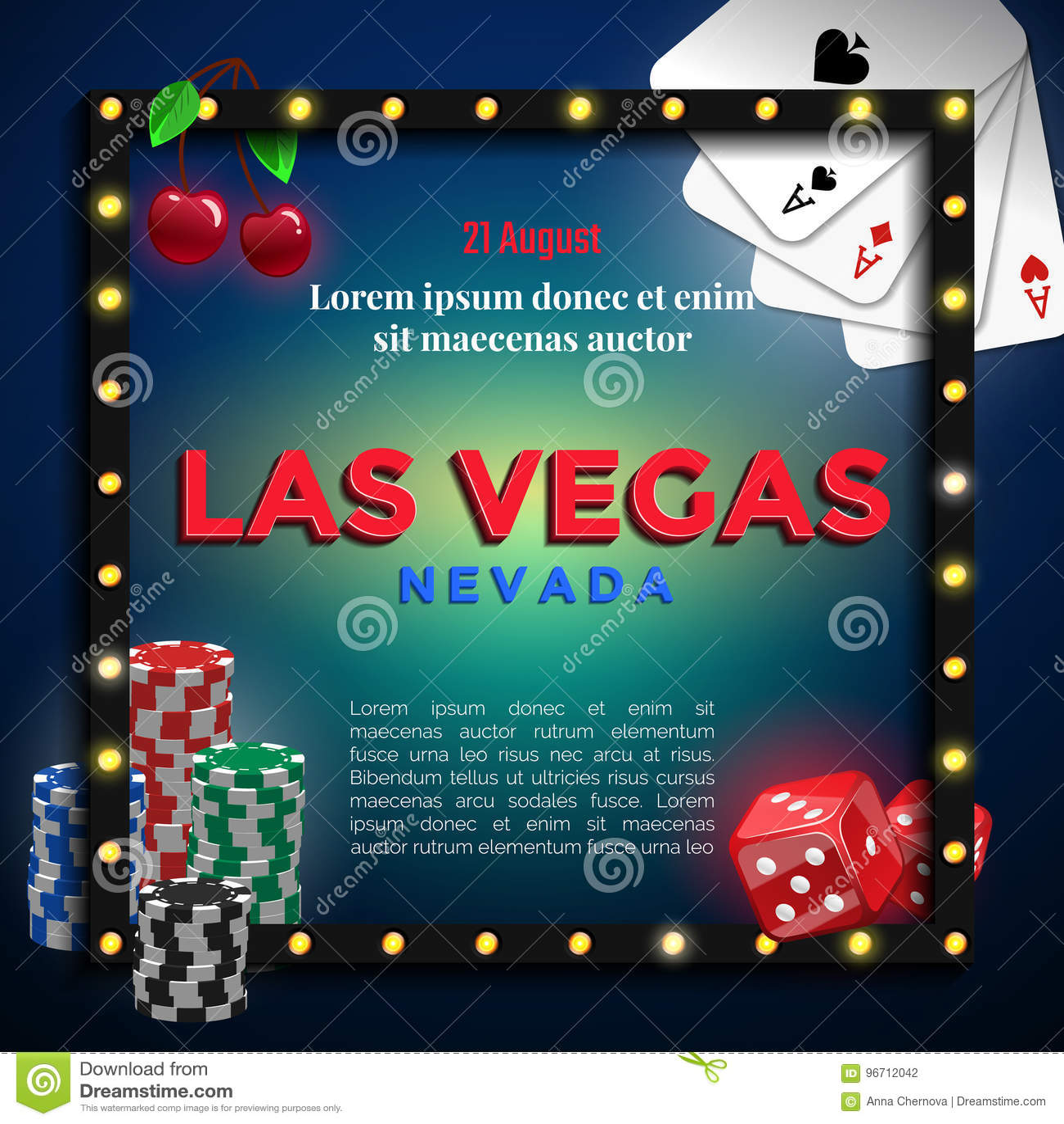 Las Vegas Background Design. Stock Vector - Illustration of card ...