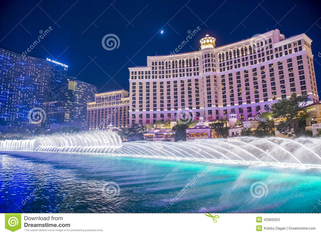 las vegas   bellagio fountains editorial stock photo