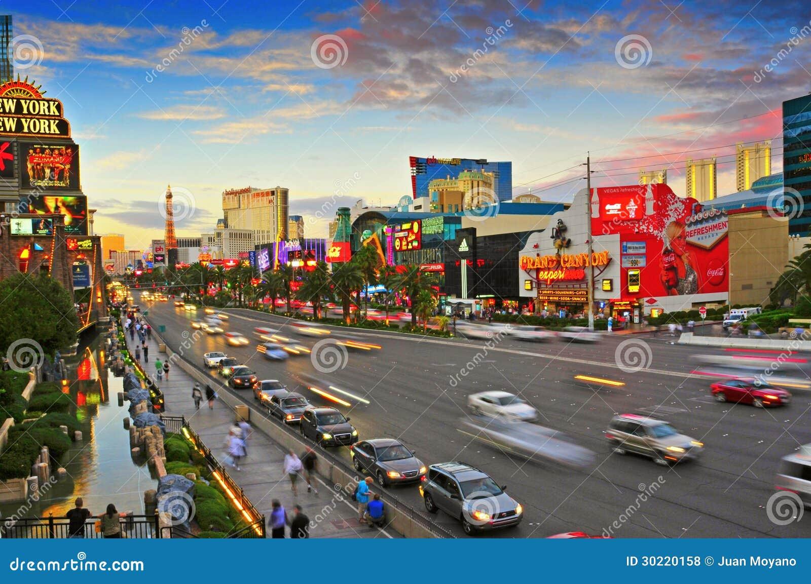De Strook van Las Vegas bij zonsondergang, Las Vegas, Verenigde Staten