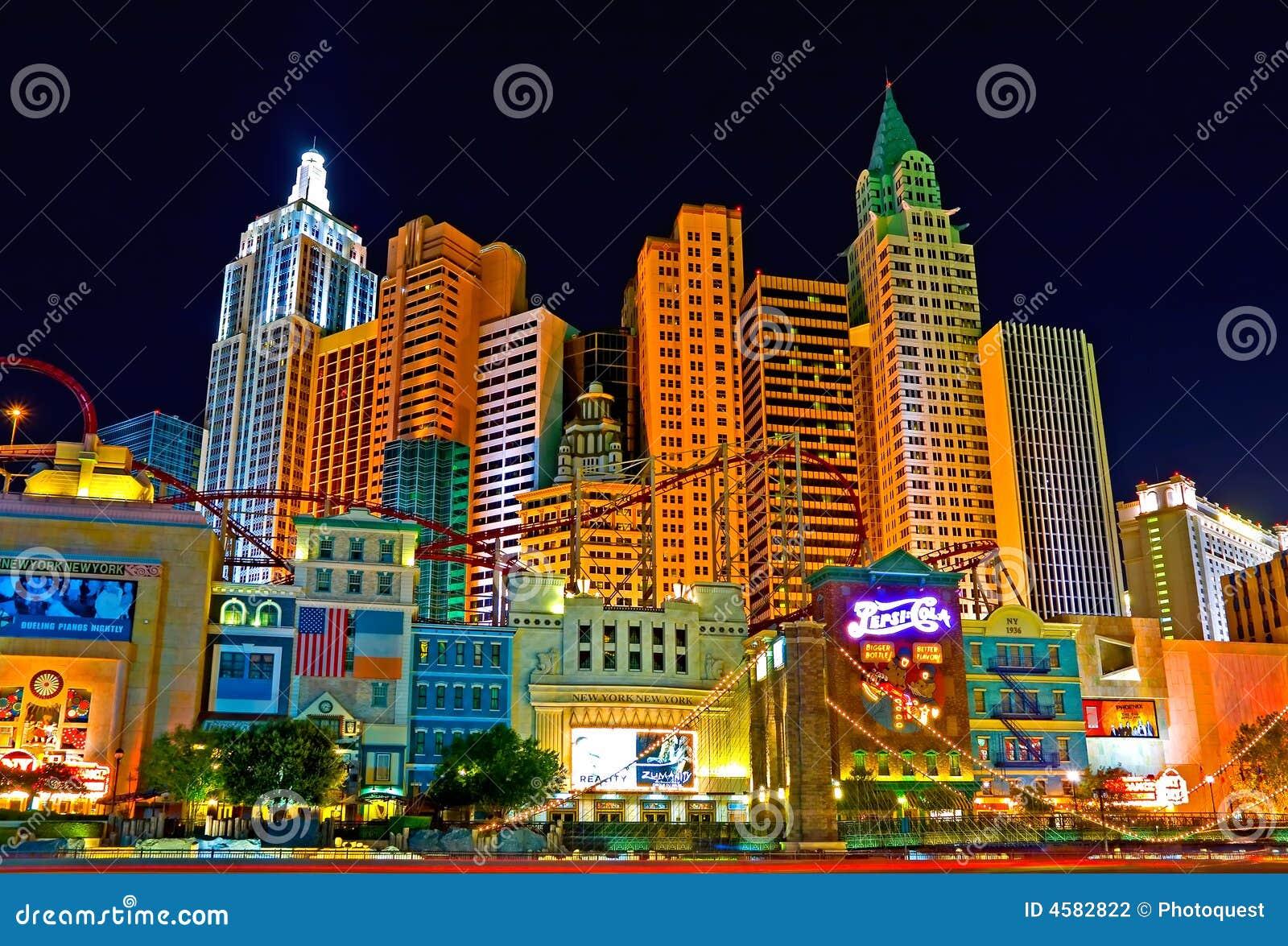 Las Vegas En La Noche Fotografía Editorial