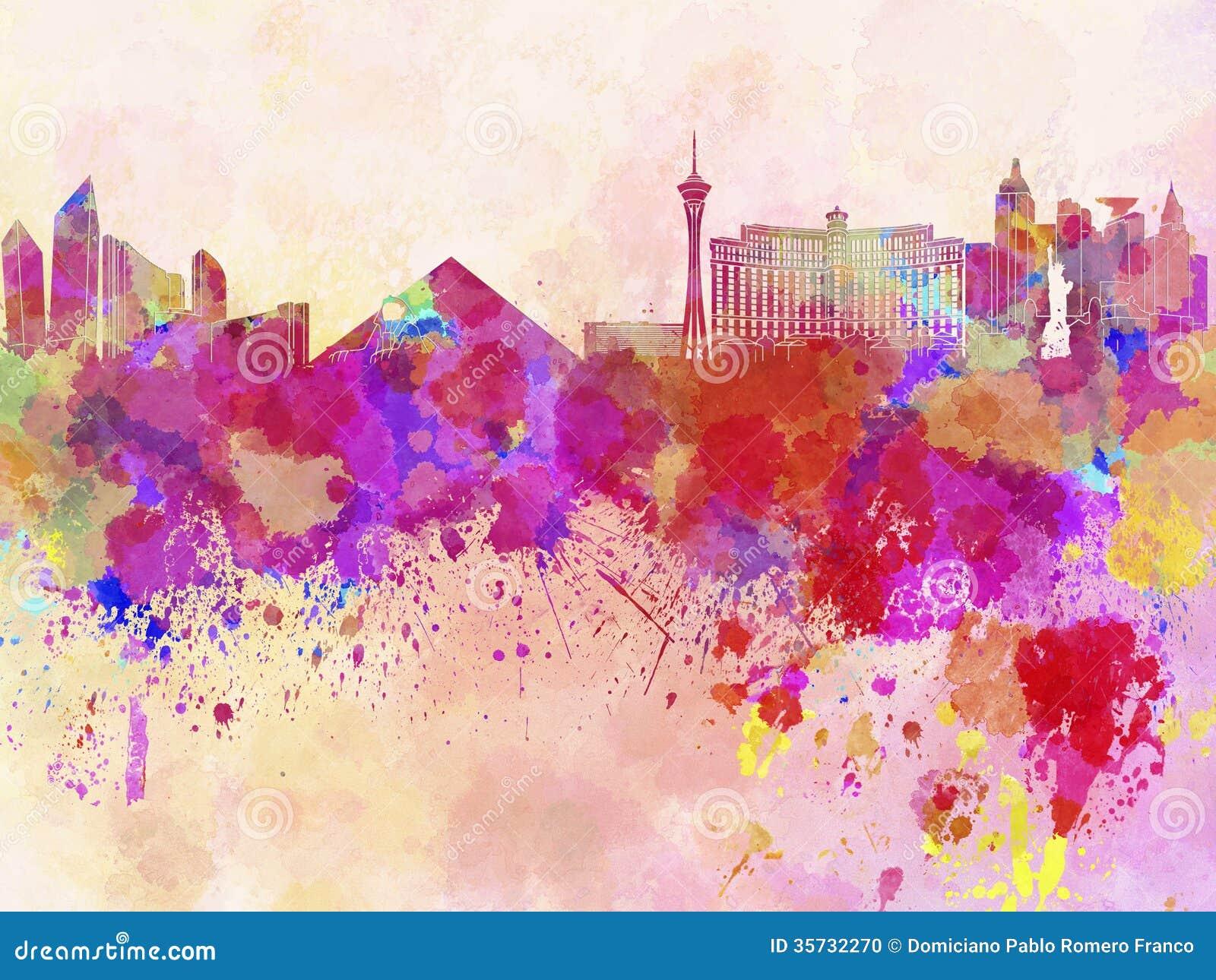 Las Vegas horisont i vattenfärgbakgrund