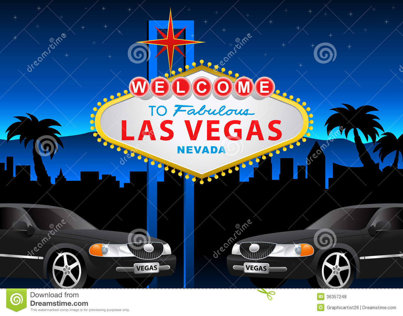 Illustration of Las Vegas. EPS 10 file and Hi-Res jpg included.