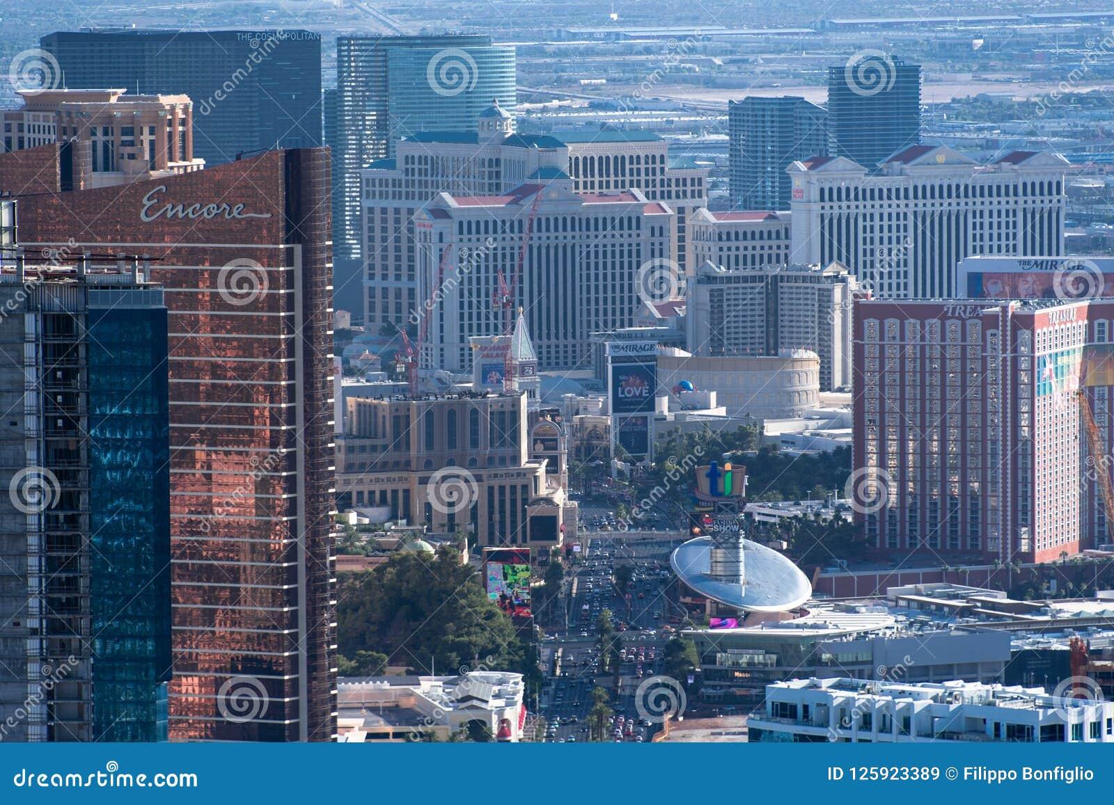 Las Vegas, nanovoltio, los E.E.U.U. 09032018: alta vista del th la tira de la torre de la estratosfera