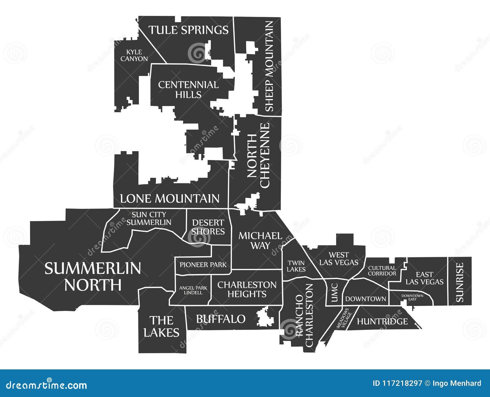 Las Vegas Nevada City Map USA Labelled Black Illustration ...