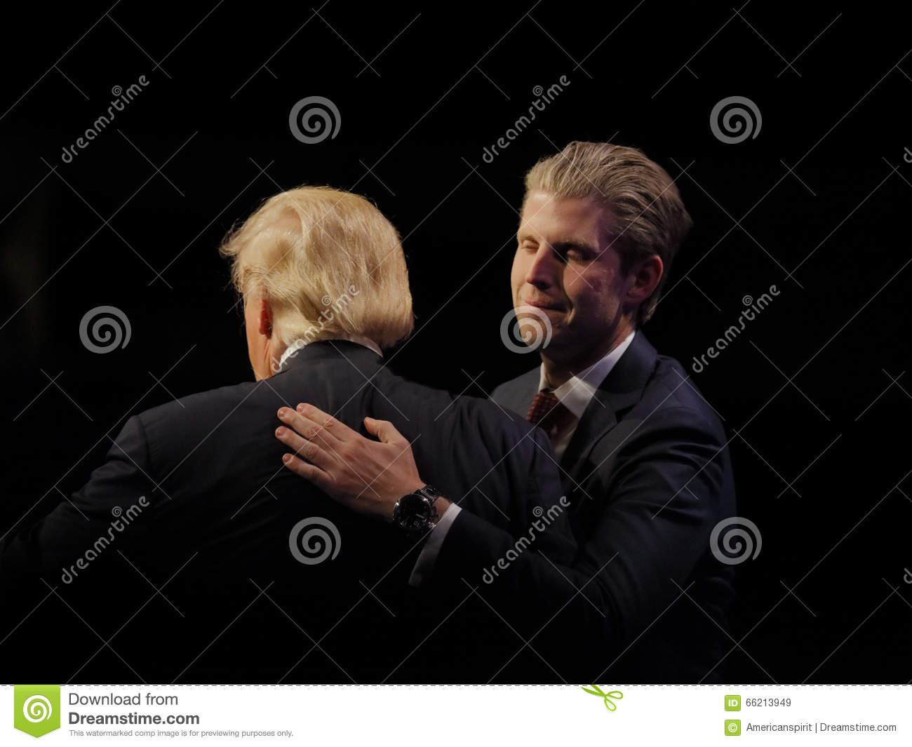 LAS VEGAS NEVADA, DECEMBER 14, 2015: Republican presidential candidate Donald and his son, Eric Trump at campaign event at Westgat
