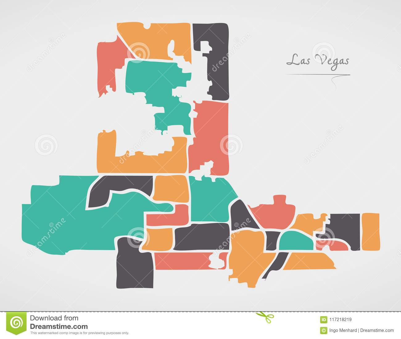 Las Vegas Nevada Map With Neighborhoods And Modern Round Shapes ...