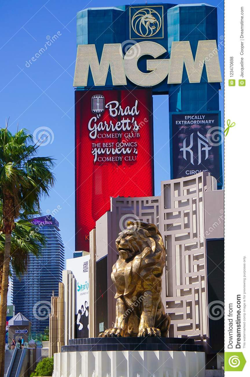 Las Vegas, Nevada/USA: Am 11. Mai 2018: Lion Statue in Mgm- Grandhotel