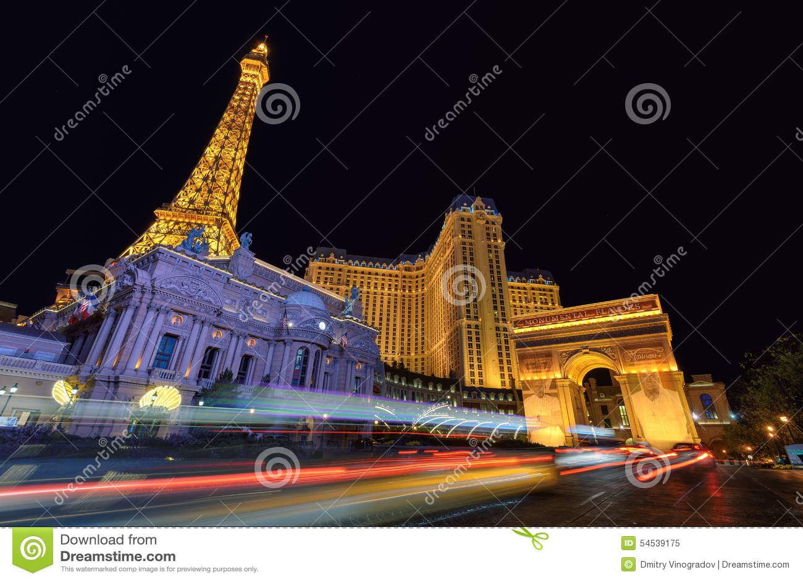 las vegas nv circa march 2015 eiffel tower and paris hotel night illumination in las vegas. Black Bedroom Furniture Sets. Home Design Ideas