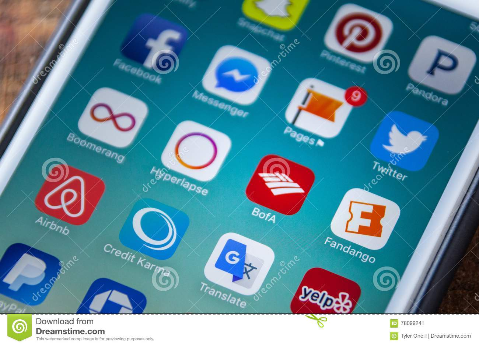 LAS VEGAS, NV - September 22  2016 - Bank Of America App Icon On