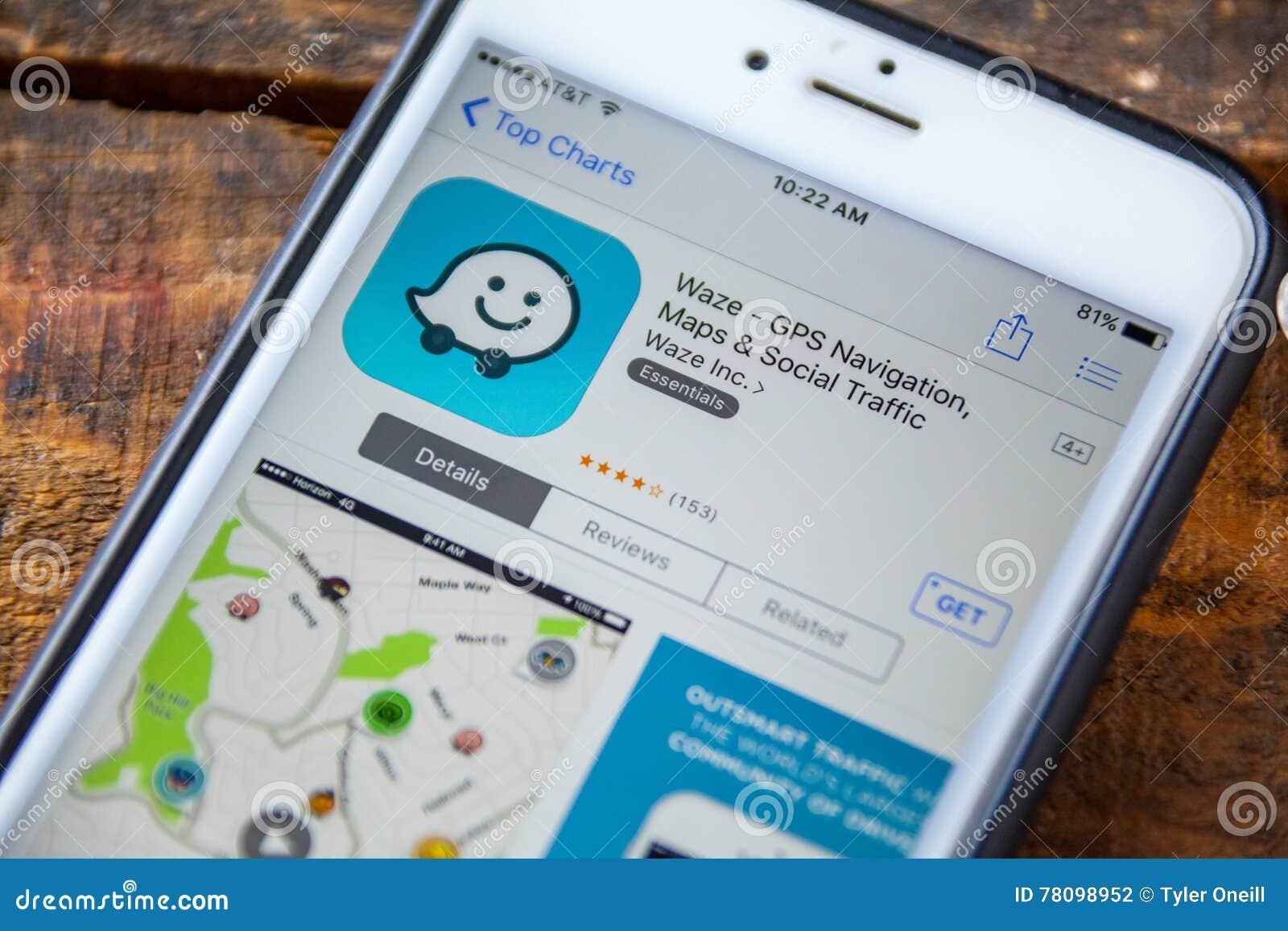 LAS VEGAS, NV - September 22  2016 - Waze GPS IPhone App In