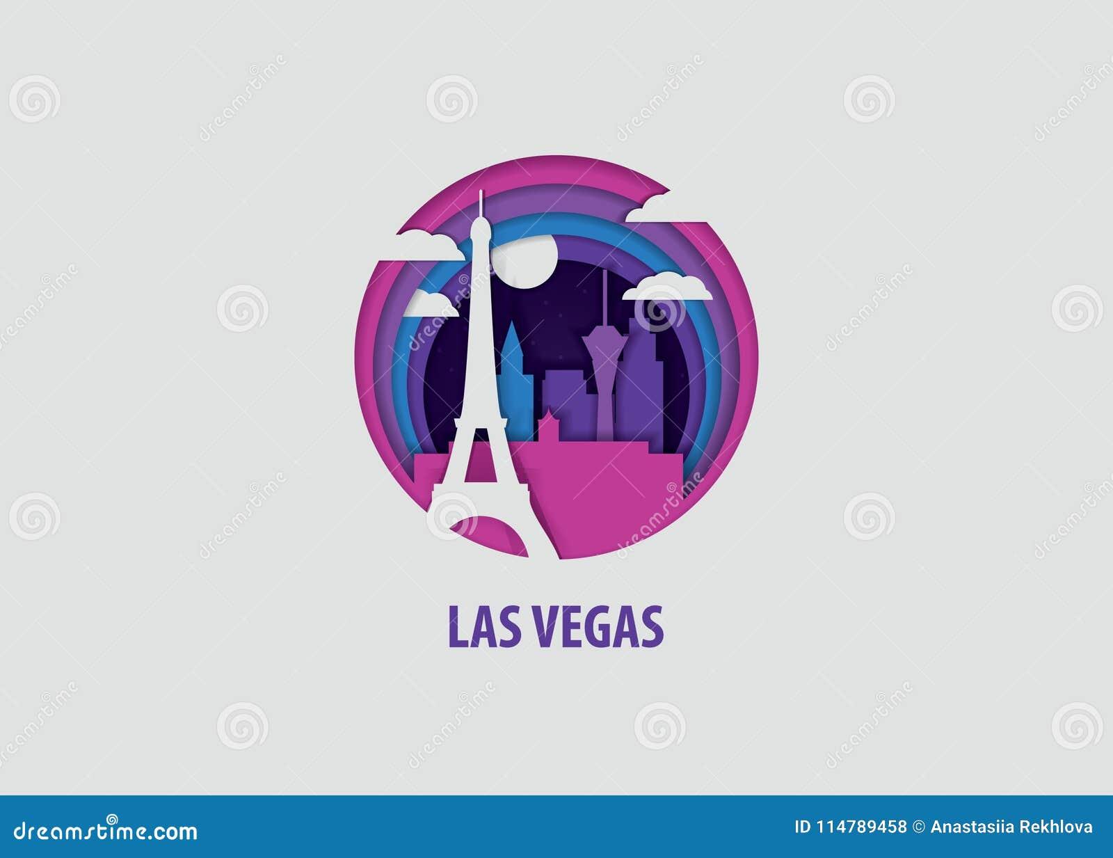 Las Vegas papieru rżnięta wektorowa ilustracja
