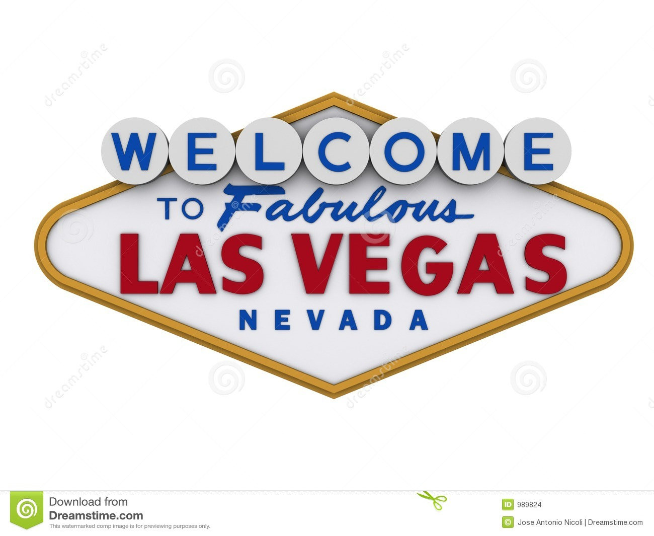 Las Vegas Sign in white backgropund, easy to isolate.