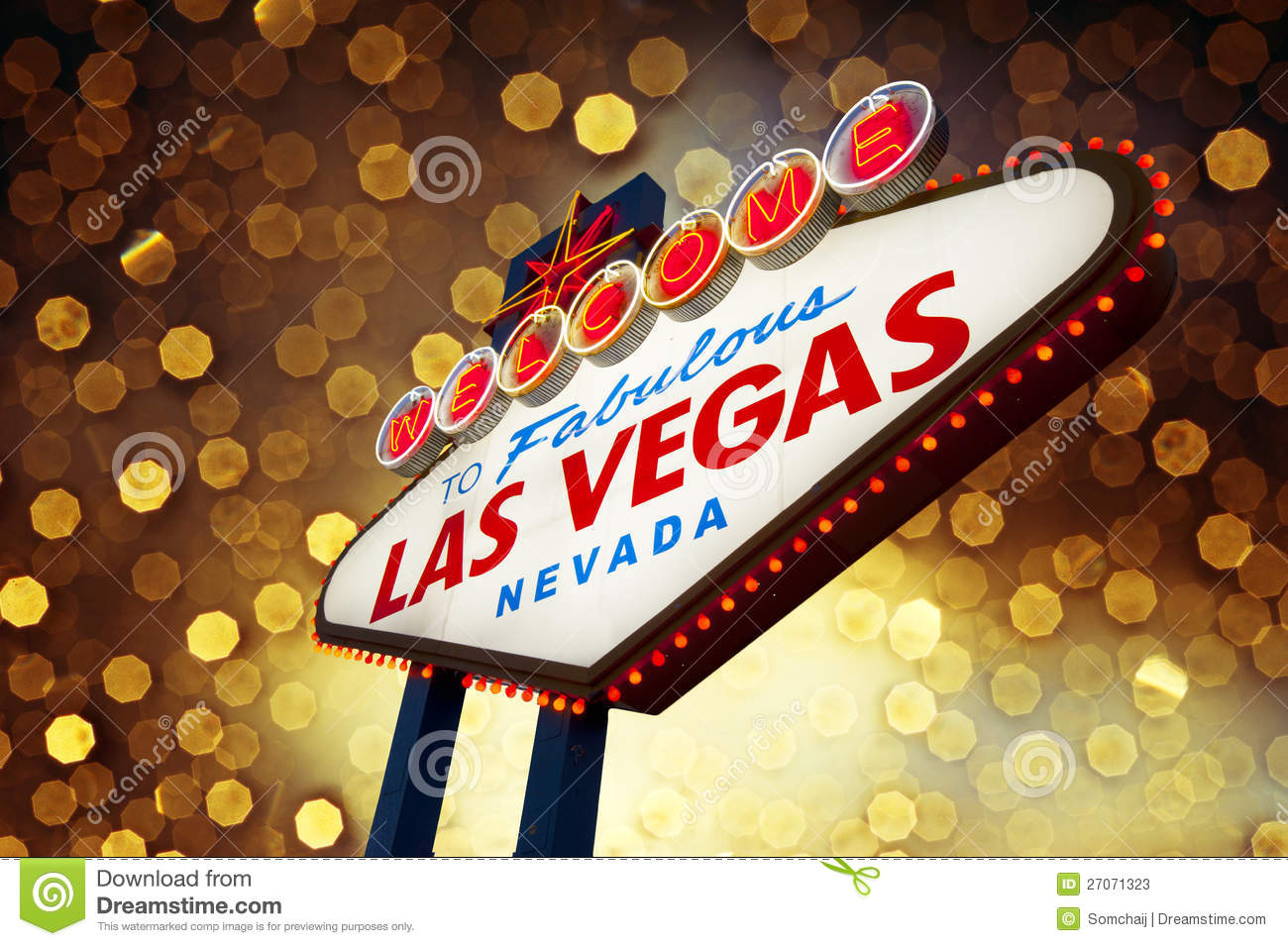 Las Vegas Sign With Bokeh Background Stock Photos Image