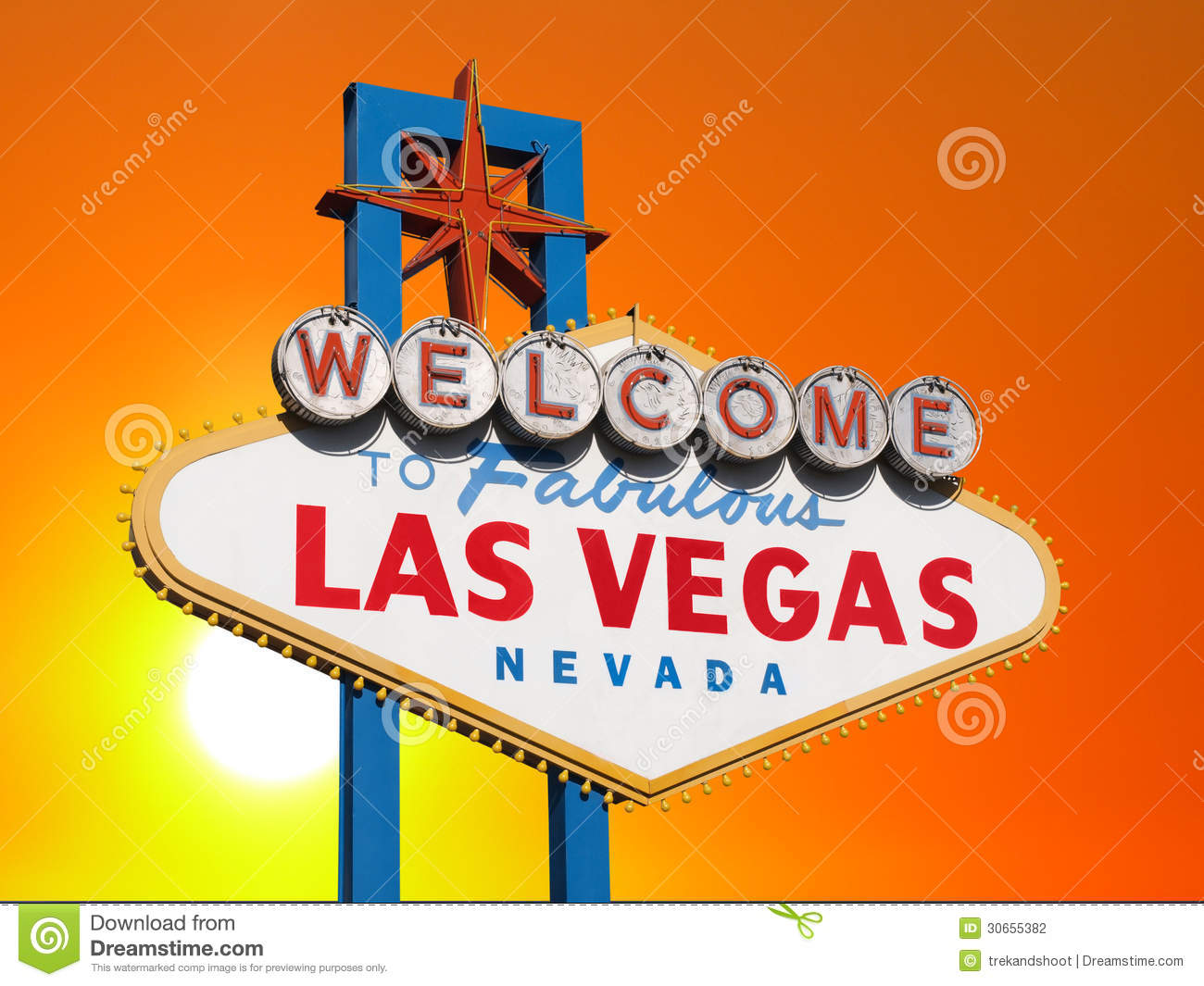 las vegas sign with sunset sky stock photography image 30655382. Black Bedroom Furniture Sets. Home Design Ideas