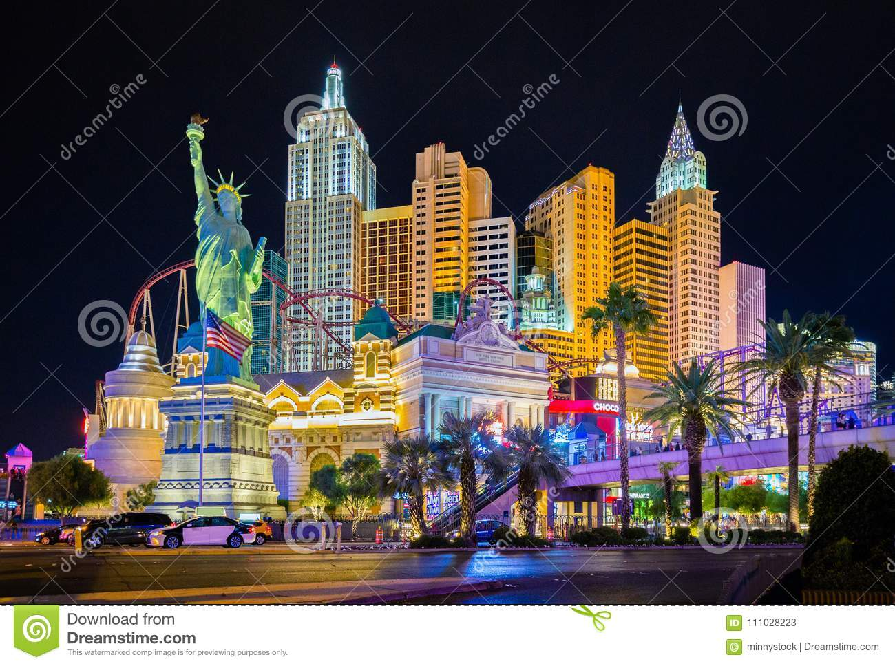 Las Vegas skyline illuminated at night, Nevada, USA