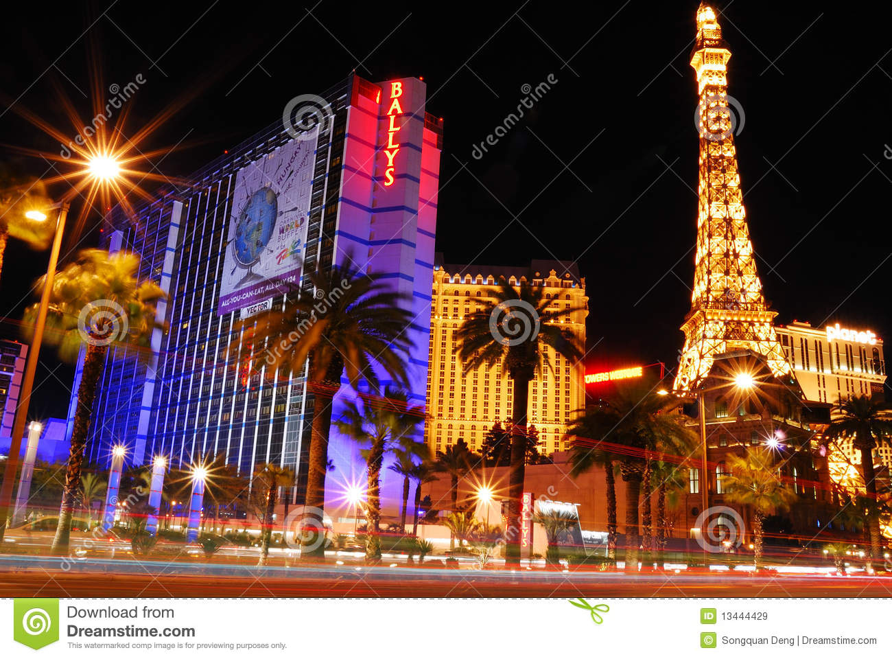 Las Vegas By Night Las Vegas De Noche As Vegas Pola: Las Vegas Street Night Scene. Editorial Stock Image