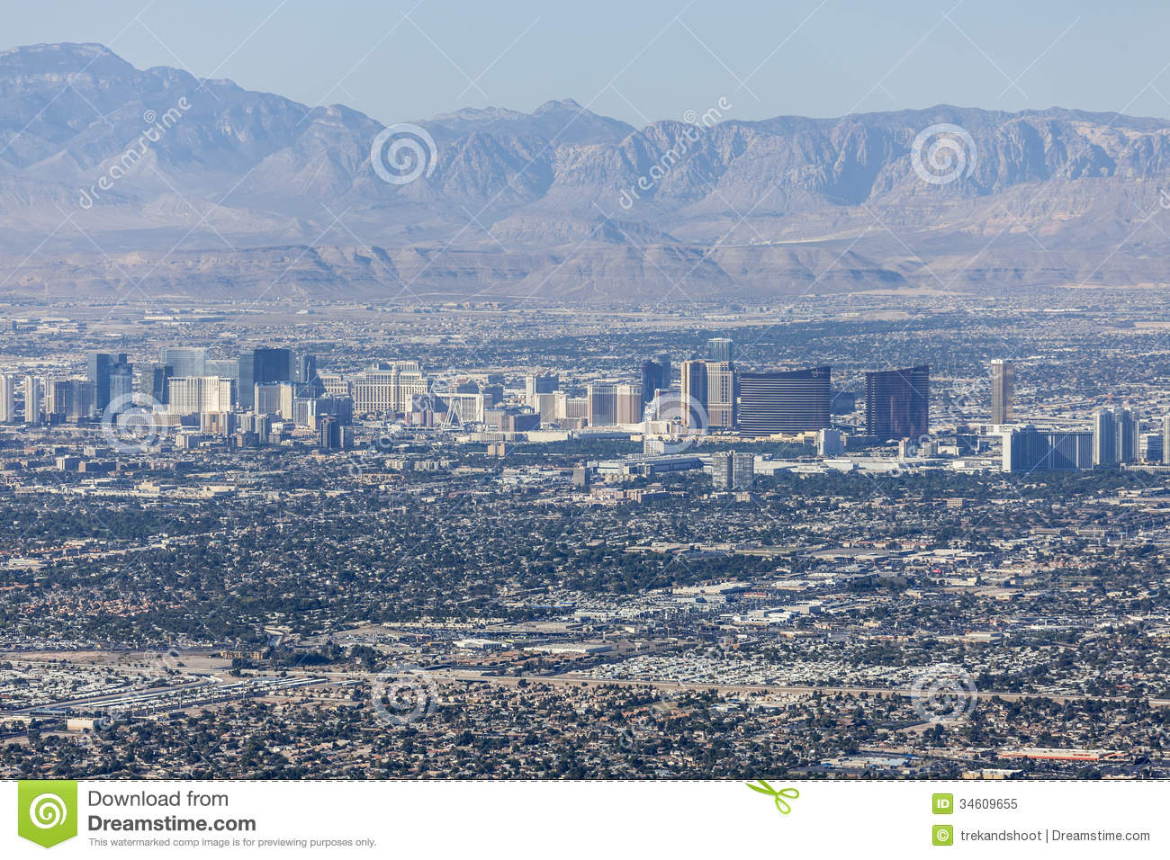 Editorial view of the Las Vegas strip and Red Rock Canyon Mational ... After The Sunset