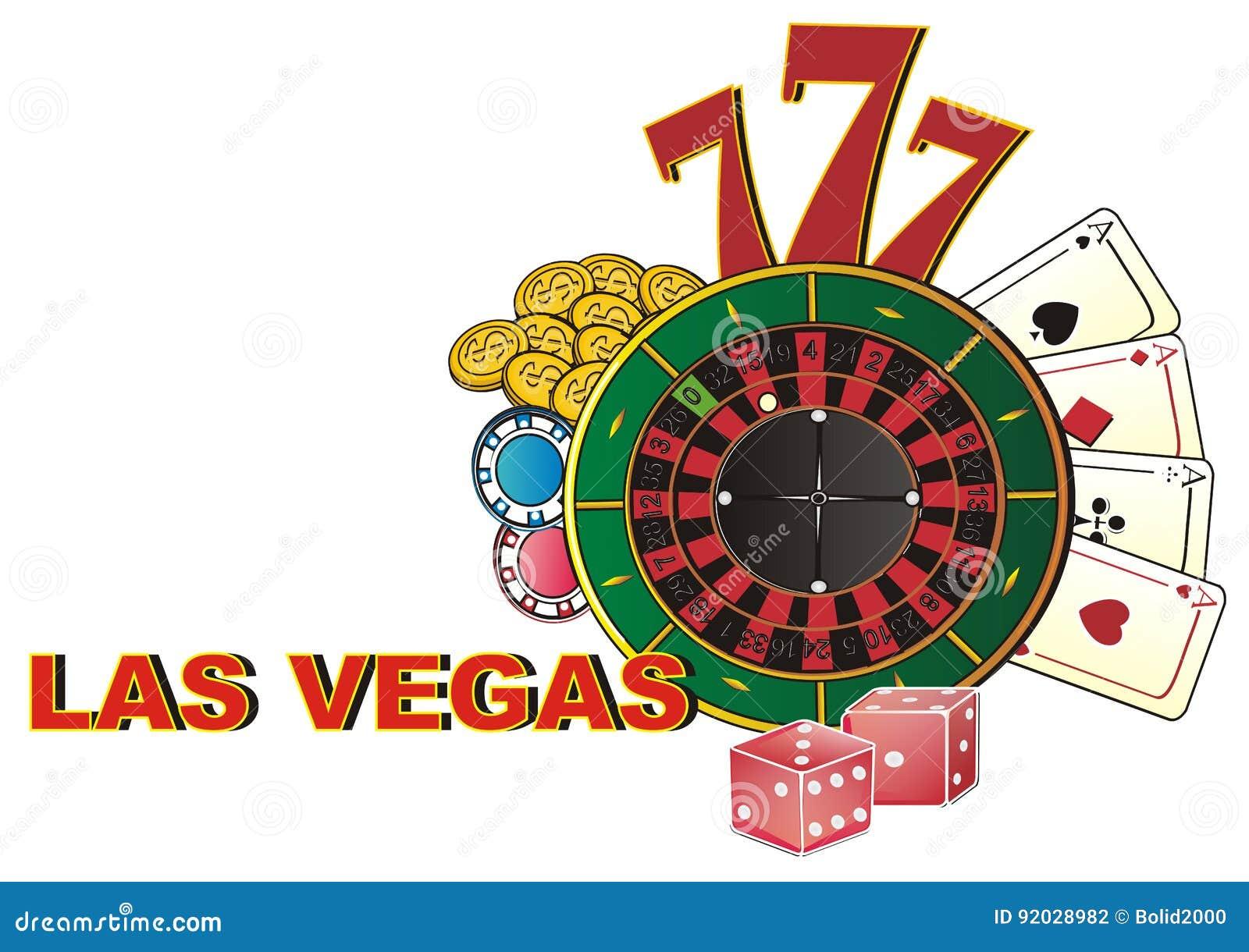 Las Vegas And Symbols Of It Stock Illustration Illustration Of