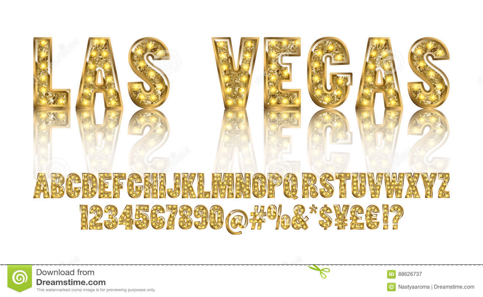 Las Vegas Toont het kleuren Gouden alfabet met lampen