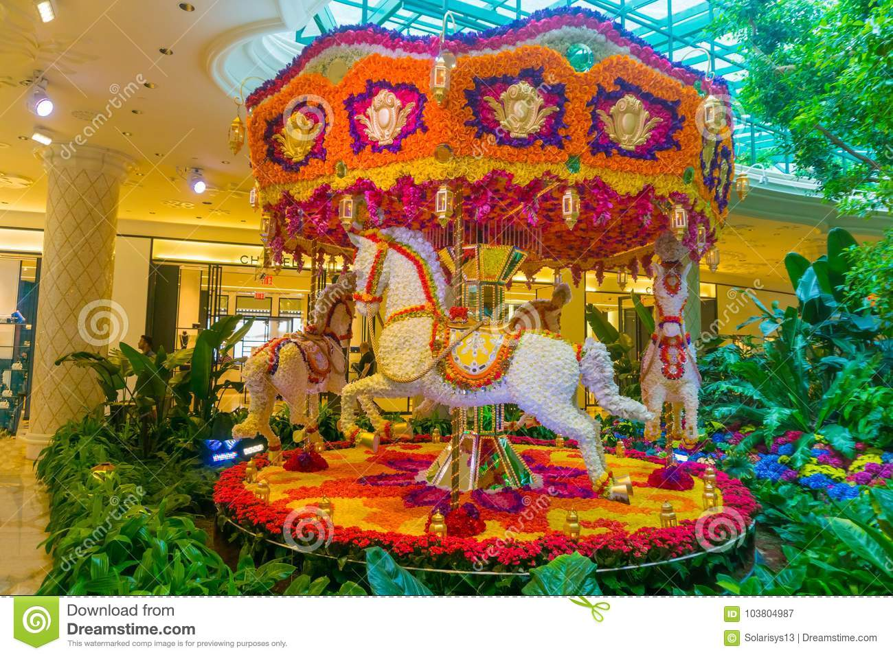 Las Vegas United States Of America May 06 2016 Flowers Installation At The Wynn Hotel And Casino Editorial Photography Image Of Gambling Poker 103804987