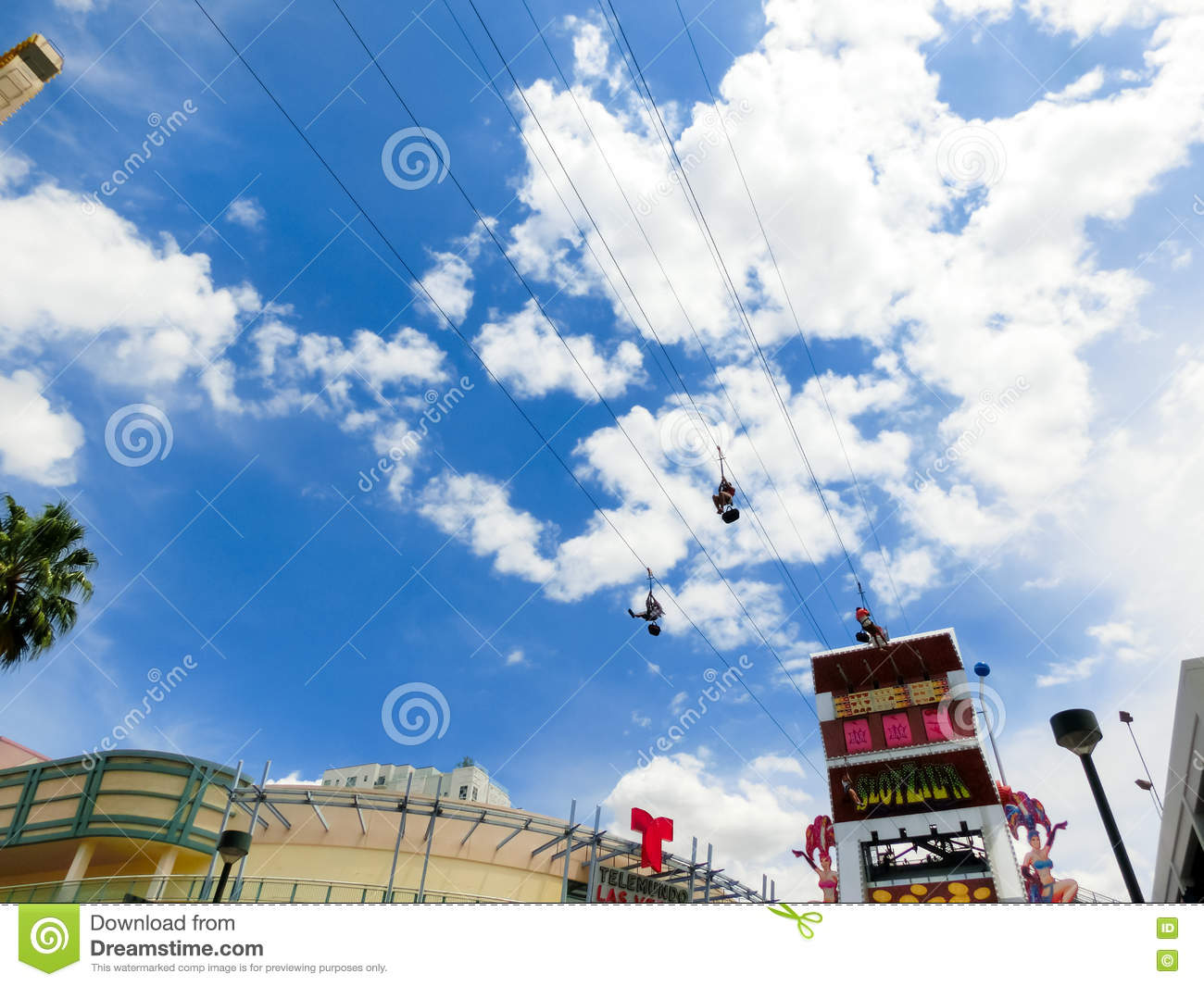 Las Vegas, USA - May 07, 2016: A people riding on the SlotZilla zip line attraction at the Fremont Street Experience.