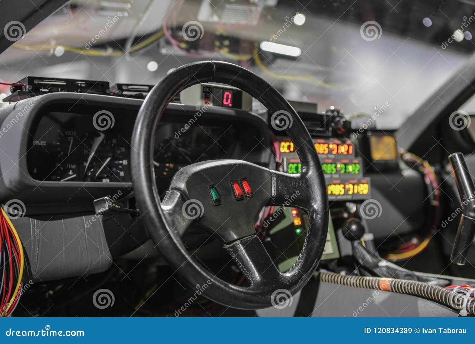 Las Vegas USA, September 2016 DMC DeLorean tillbaka till den framtida filmbilinre på auto exebition