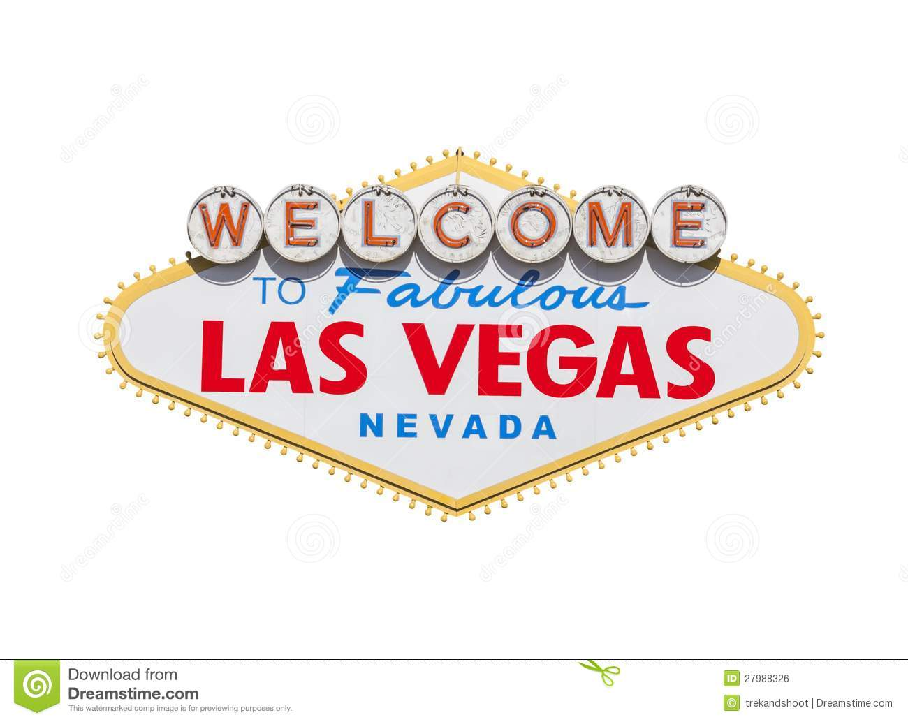 Las Vegas Welcome Sign Diamond Isolated Stock Photo Image Of Sign