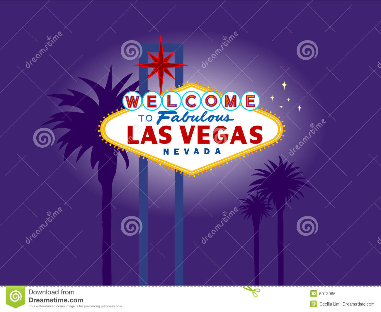 Las Vegas Welcome Sign at Night with Palm Trees