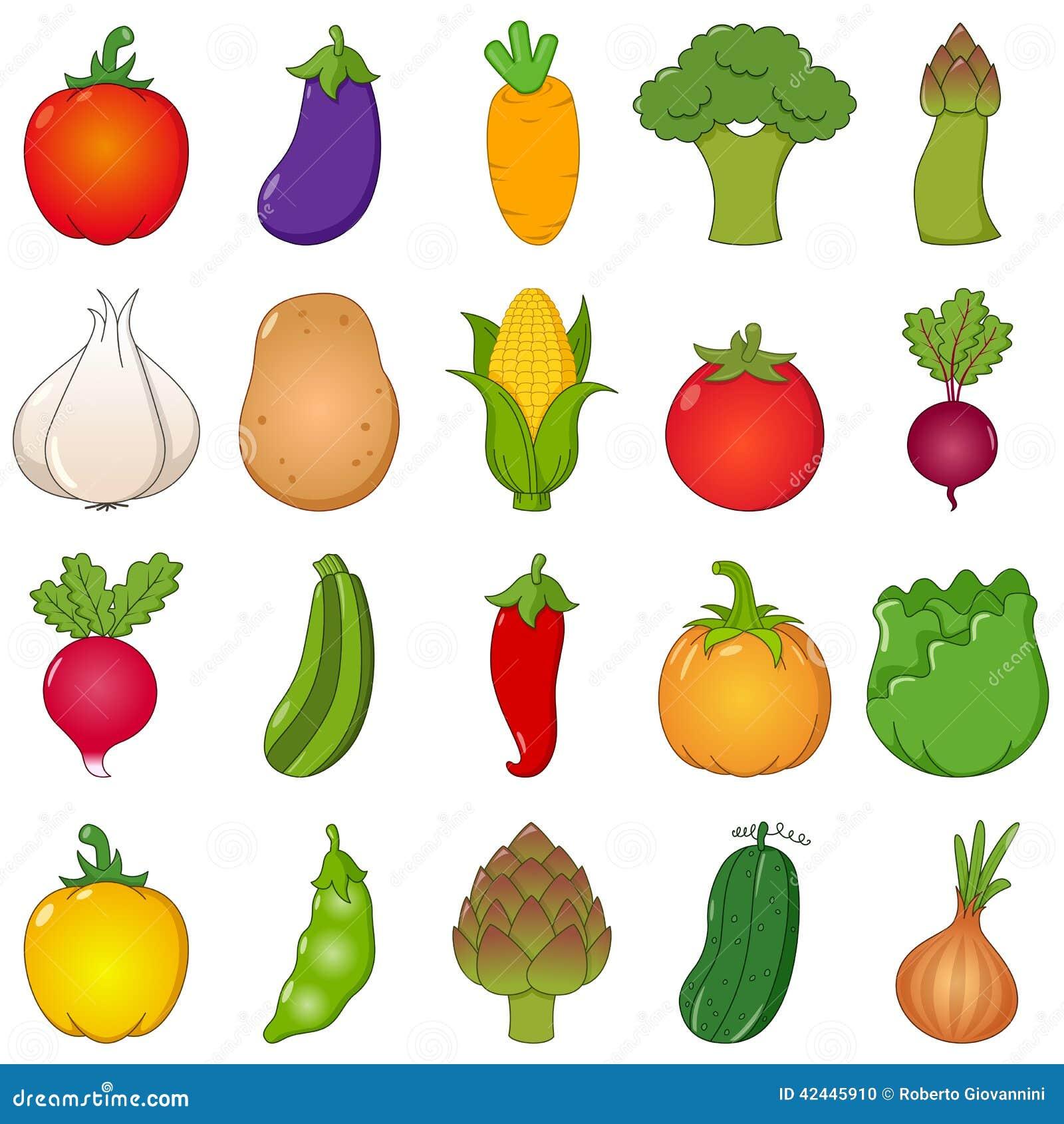 Las verduras coloridas fijaron estilo de la historieta