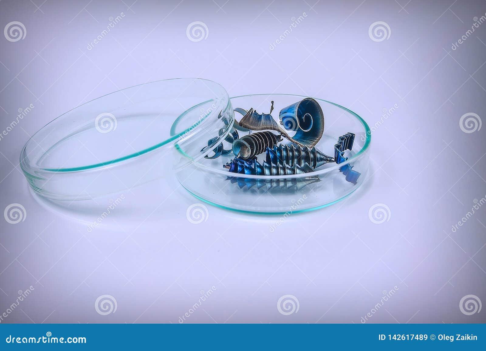 Las virutas del metal mienten en una placa de cristal en un fondo ligero