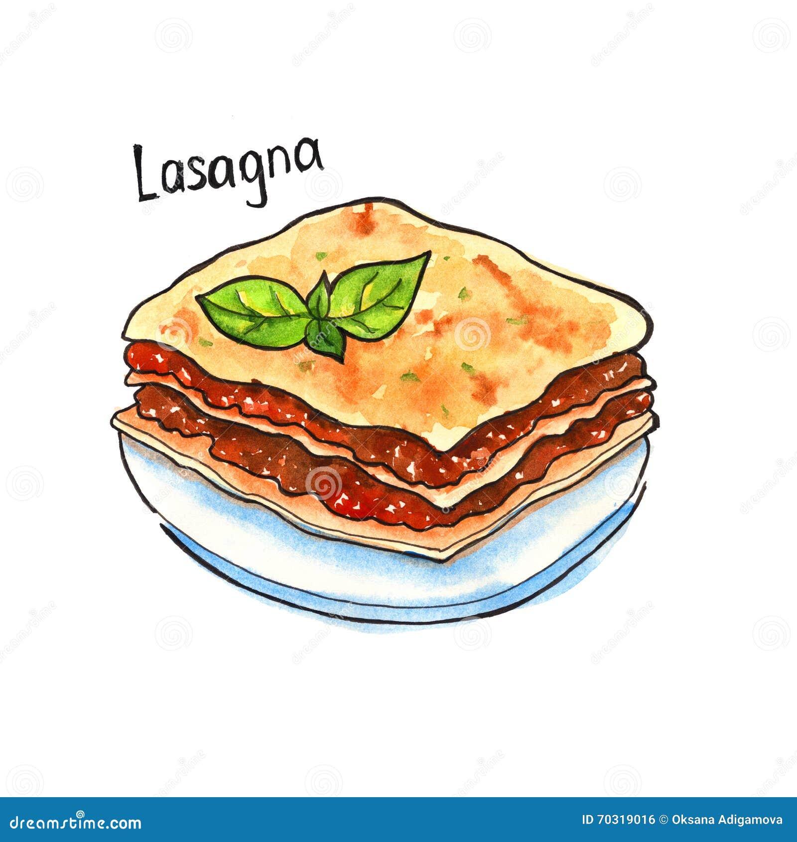 Lasagna carpaccio κουζίνας άριστη πολυτέλεια τρόπου ζωής τροφίμων ιταλική απομονωμένος watercolor