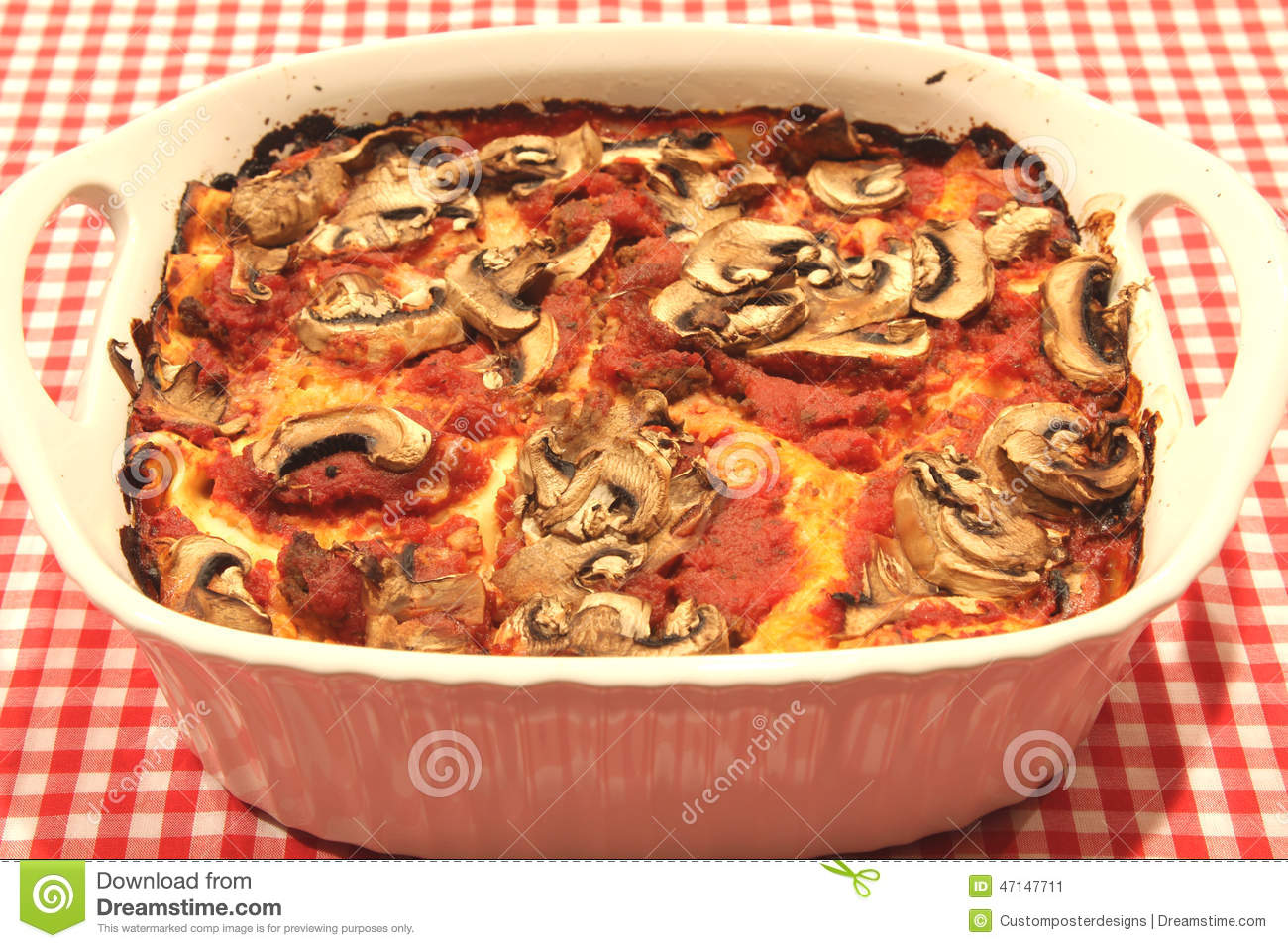 Download A Lasagna Casserole With Mushrooms. Stock Image - Image of casserole, ready: 47147711